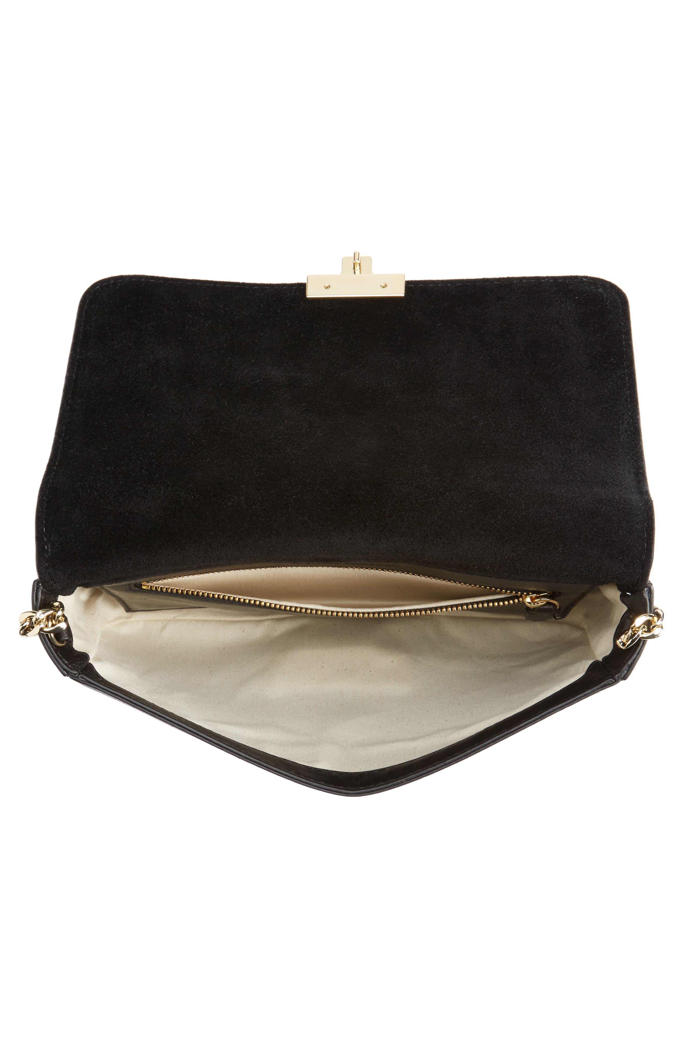 Lock Shoulder Bag,                             Alternate thumbnail 4, color,                             Black