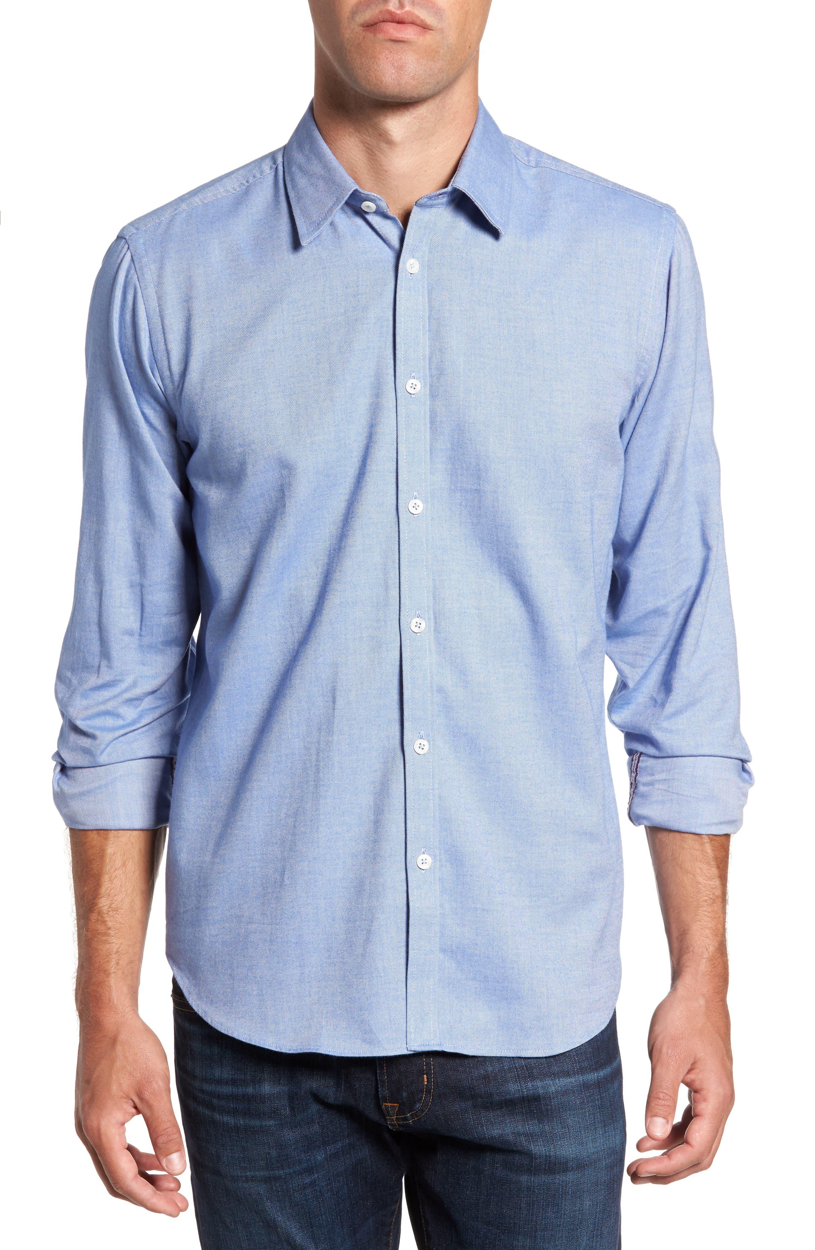 Slim Fit Oxford Cloth Sport Shirt,                         Main,                         color, Medium Blue