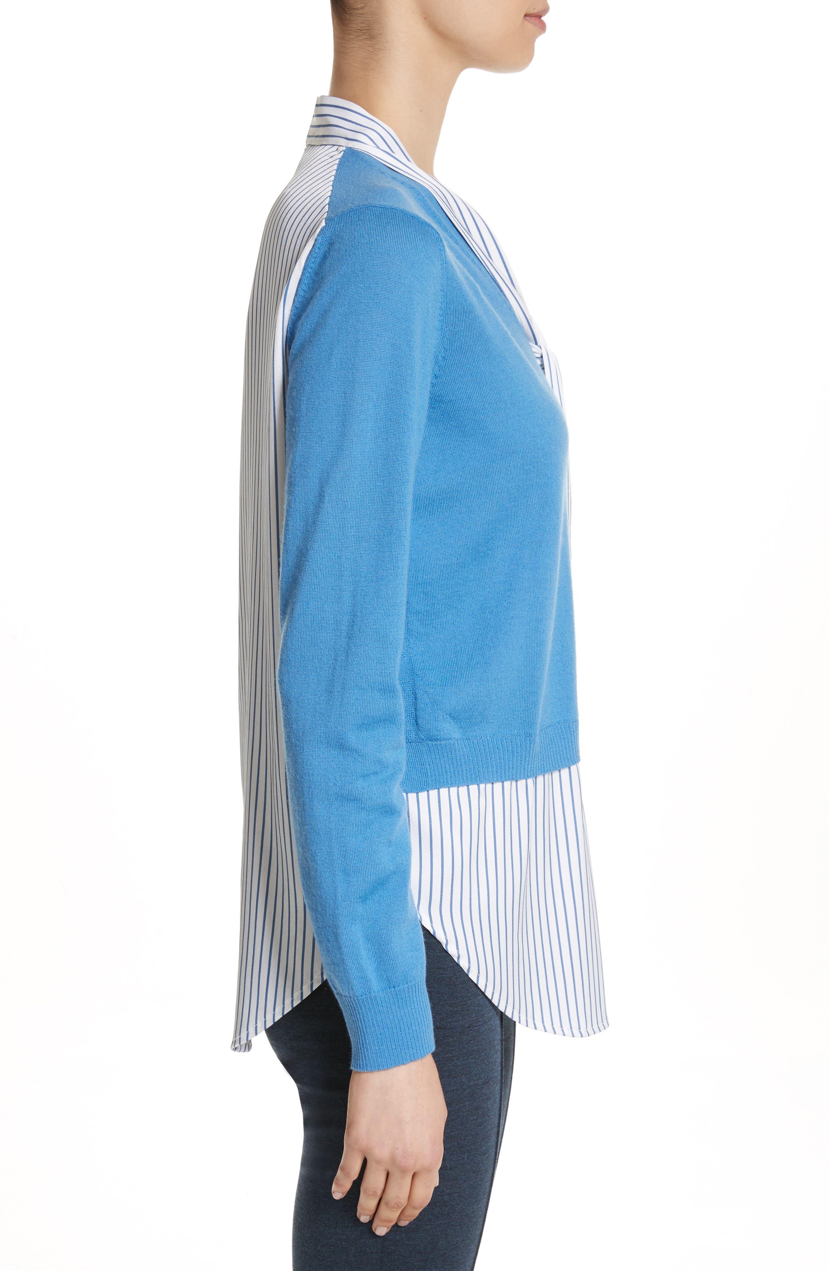 Layered Jersey Knit Cardigan,                             Alternate thumbnail 3, color,                             Niagara