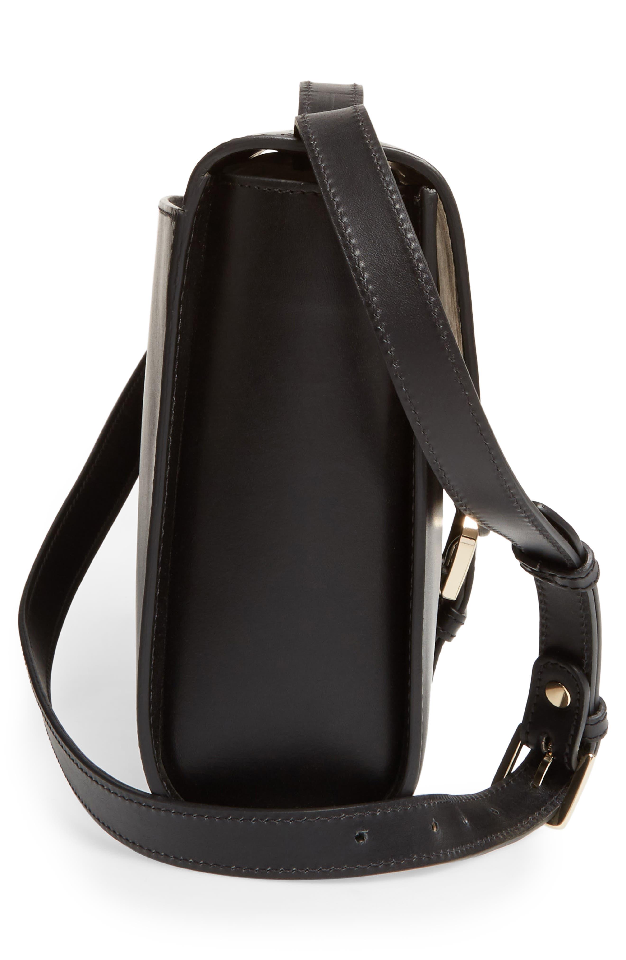 Katy Calfskin Leather Messenger Bag,                             Alternate thumbnail 4, color,                             Noir
