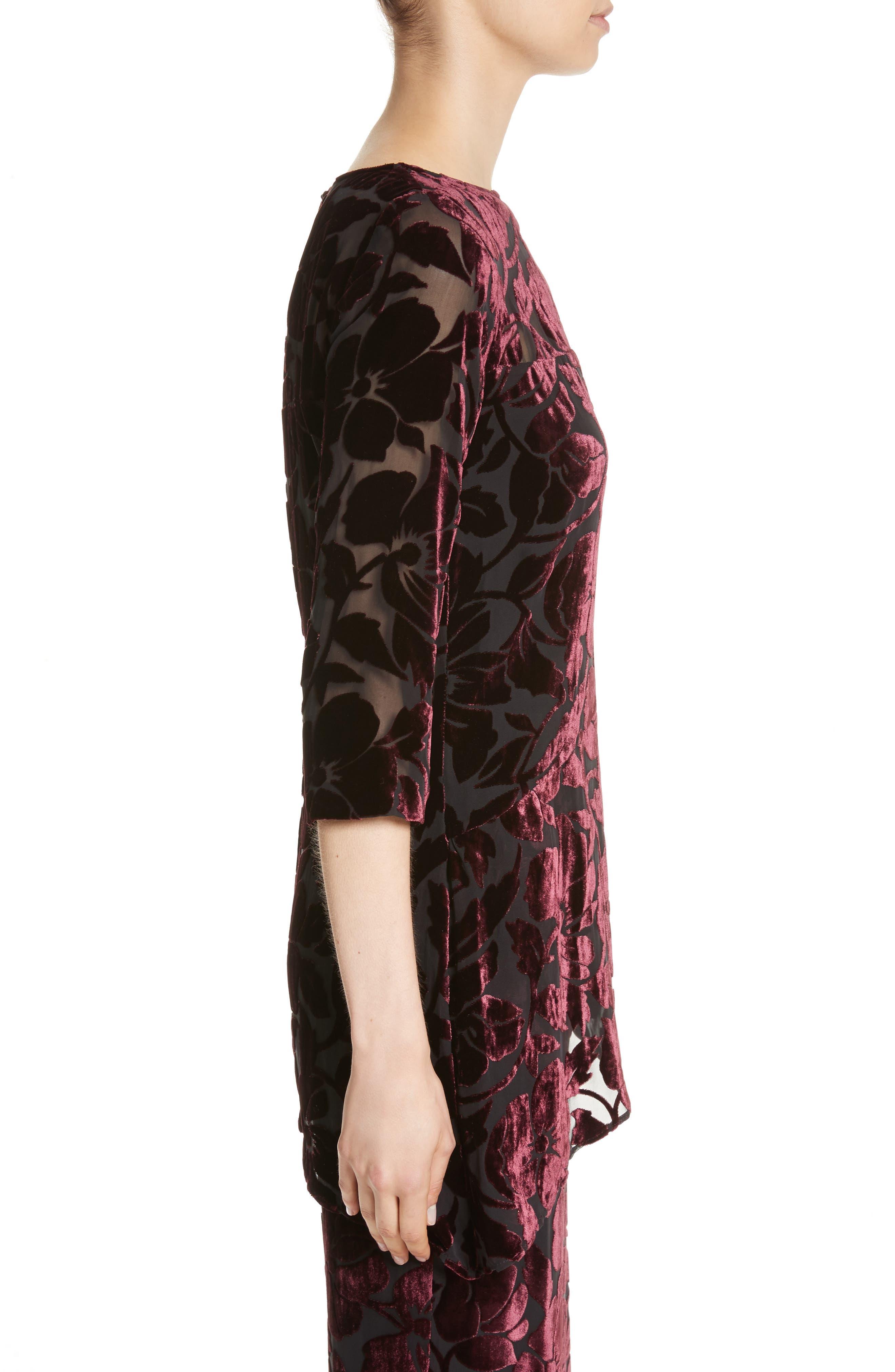 Alternate Image 3  - St. John Collection Velvet Floral Burnout Top