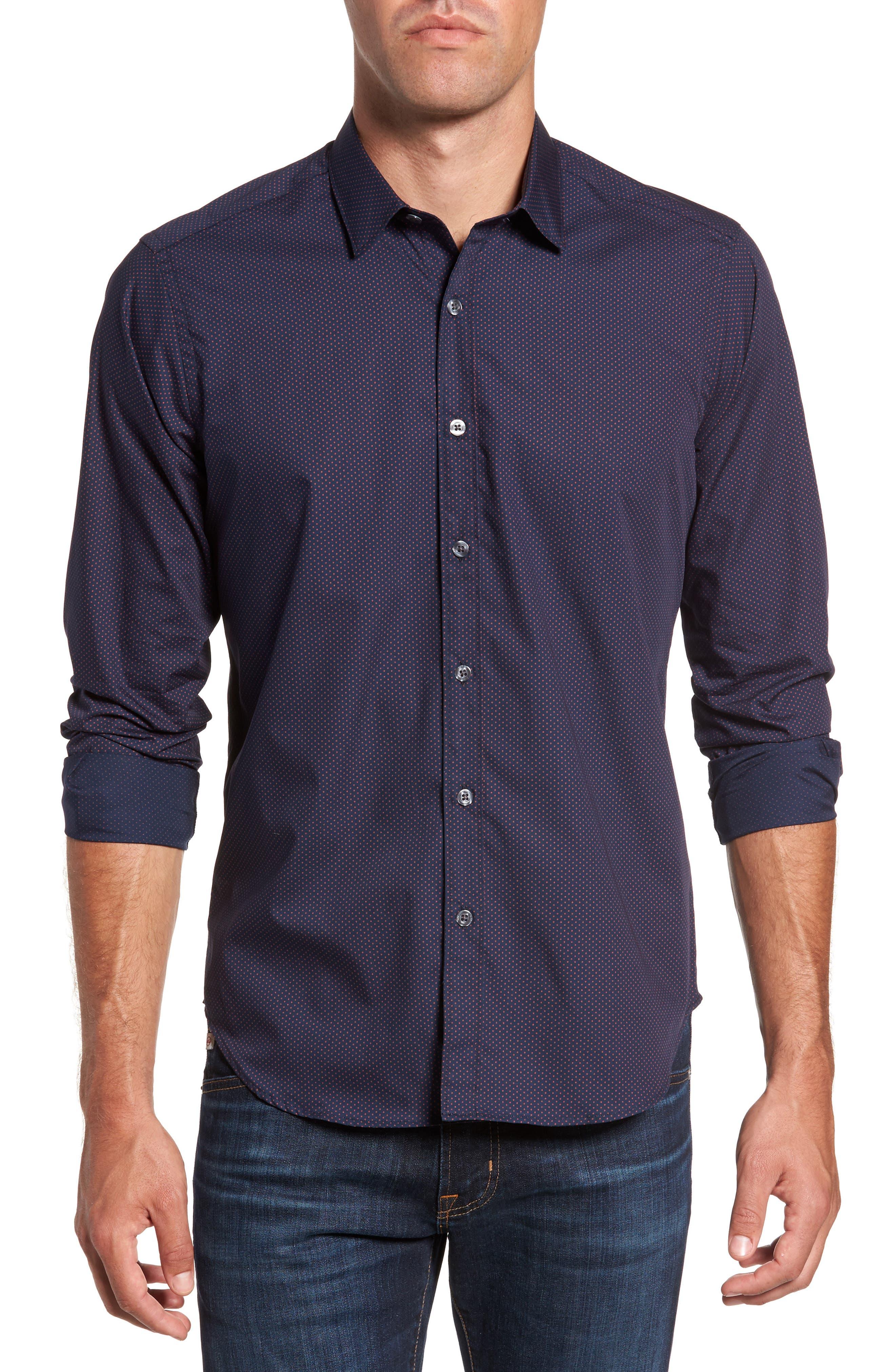Arlington Slim Fit Print Sport Shirt,                         Main,                         color, Navy