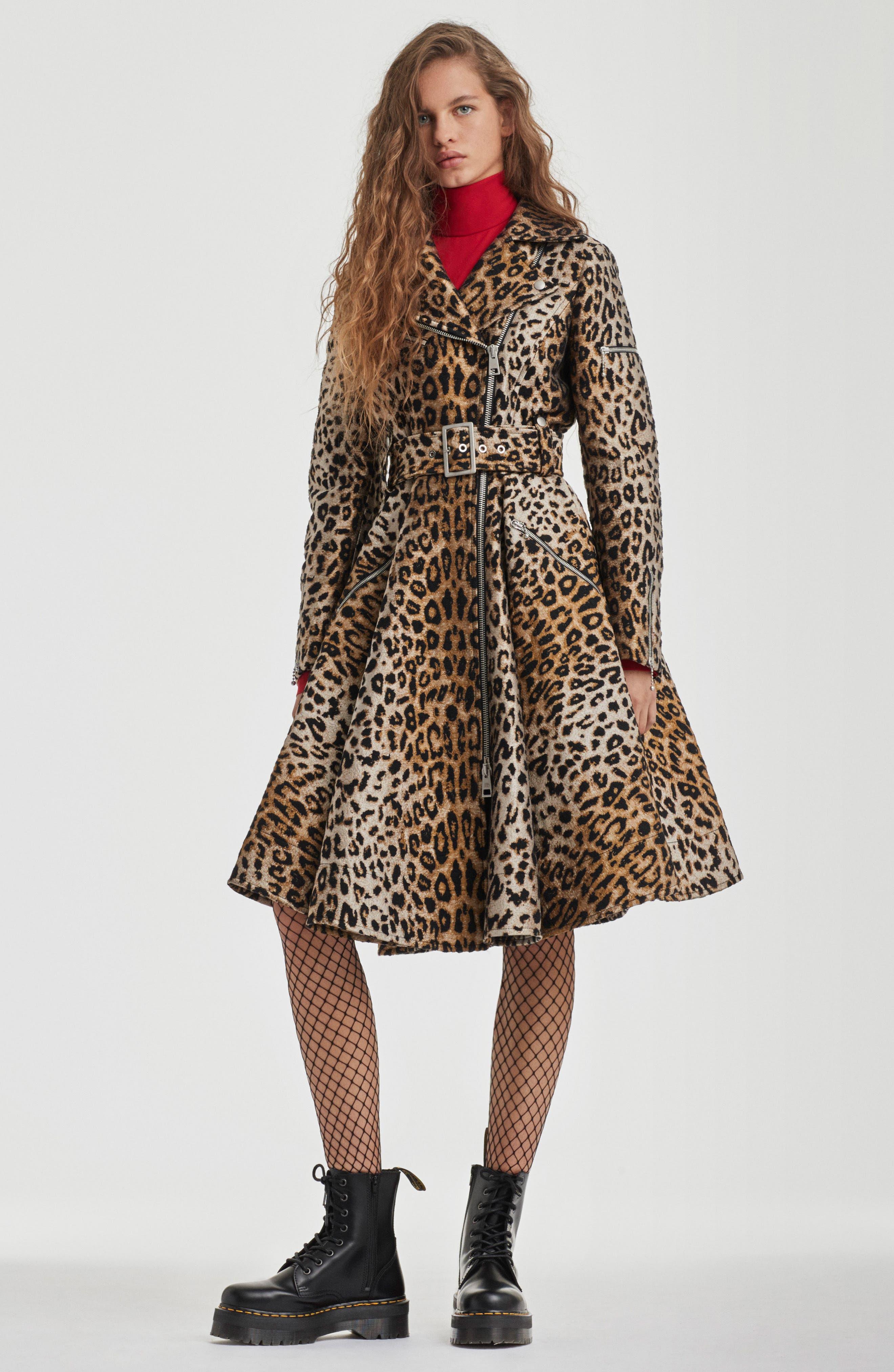 Leopard Jacquard Trench Coat,                             Alternate thumbnail 2, color,                             Leopard