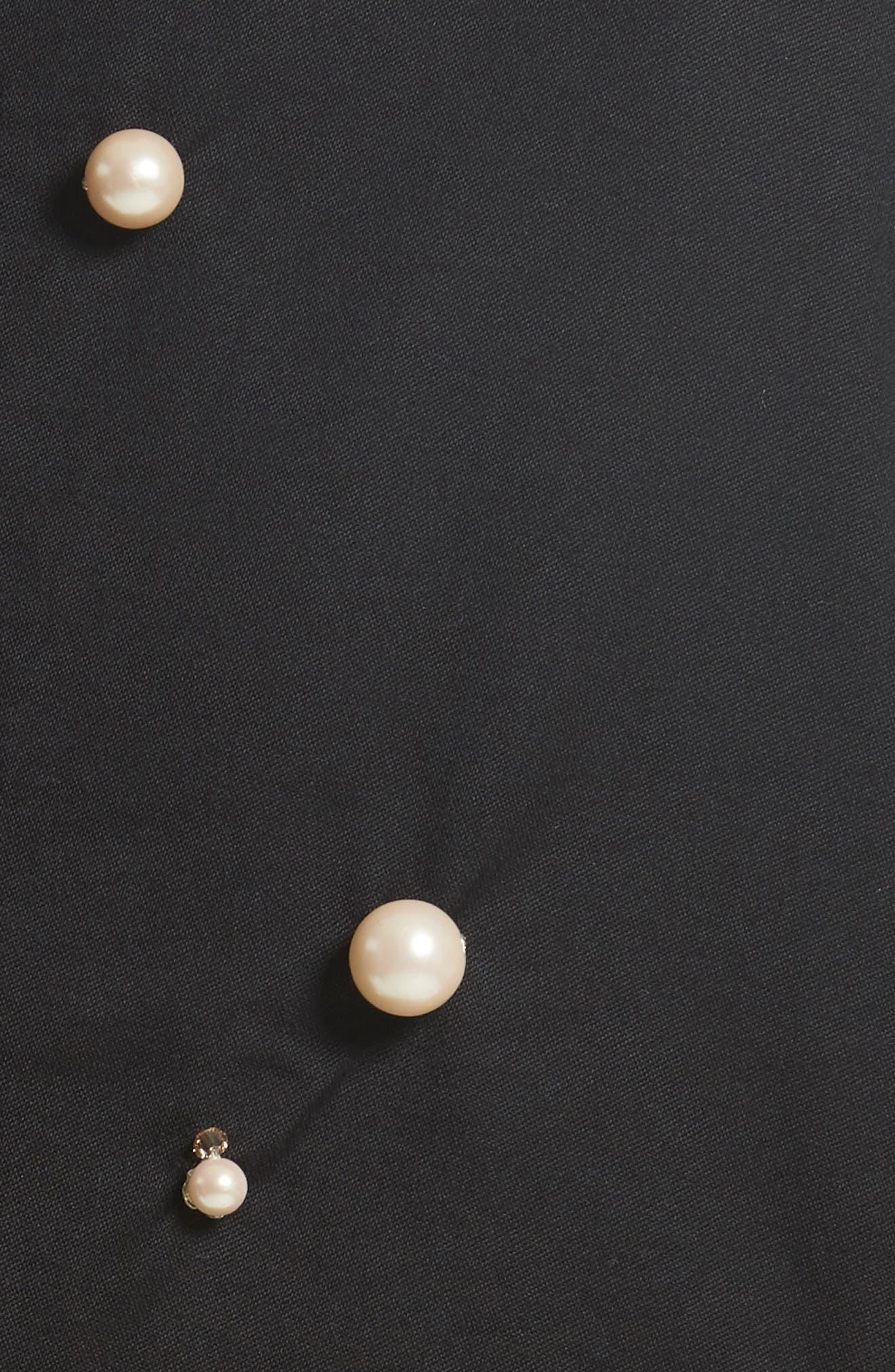 Snow Imitation Pearl Embellished Field Jacket,                             Alternate thumbnail 5, color,                             Black