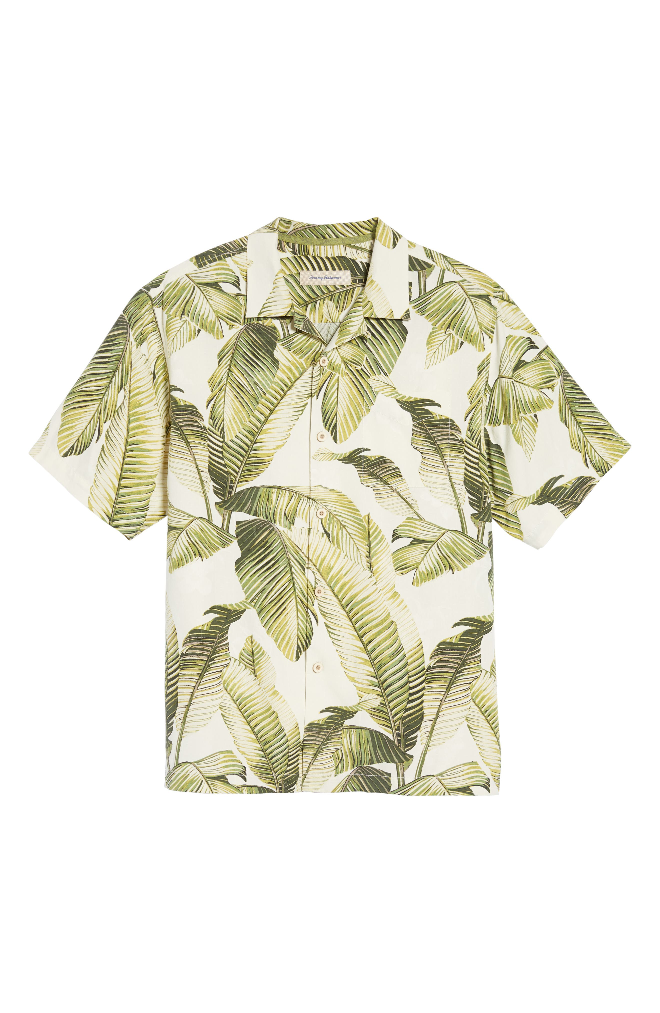 Cascara Fronds Classic Fit Silk Camp Shirt,                             Alternate thumbnail 6, color,                             Coconut Cream