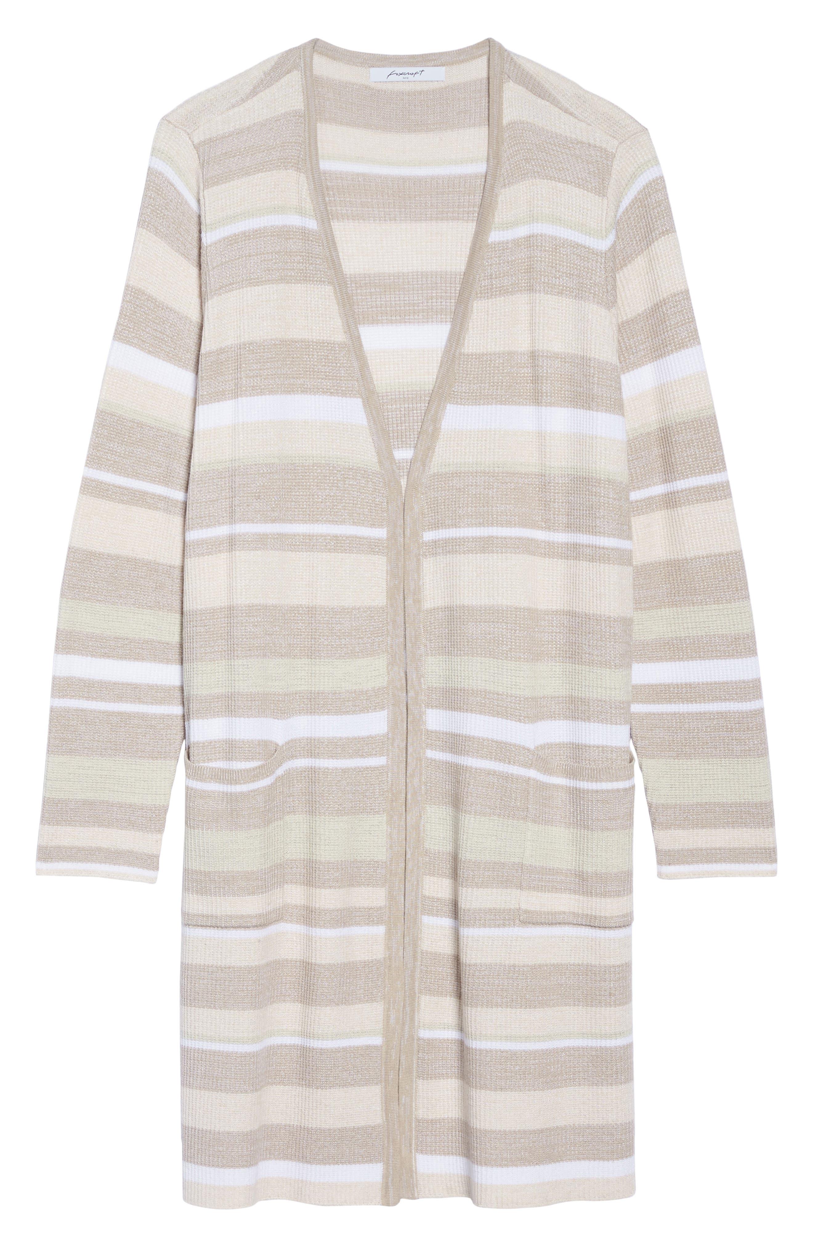 Rhona Textured Stripe Longline Cardigan,                             Alternate thumbnail 6, color,                             Neutral