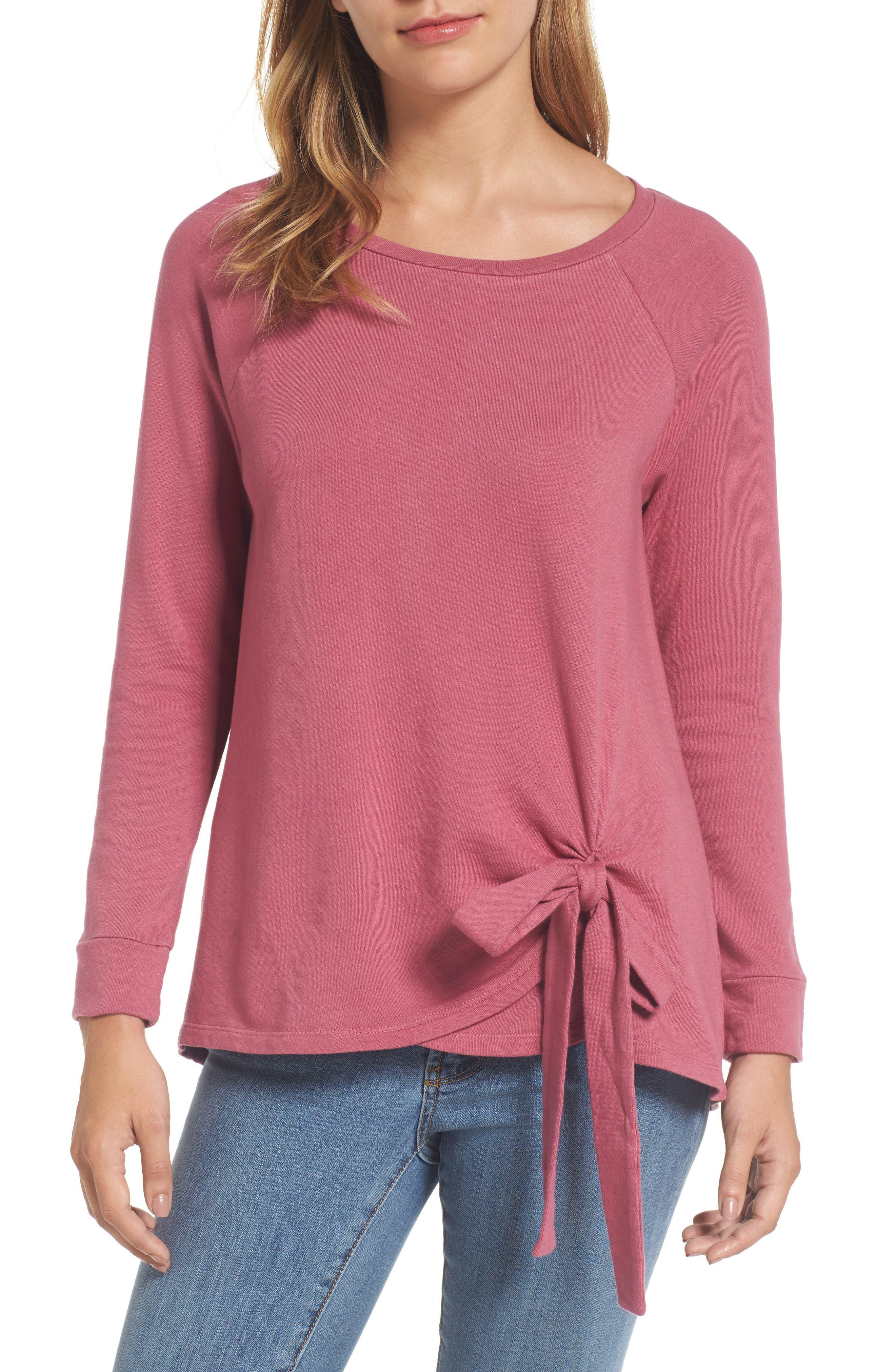 Caslon® Tie Front Sweatshirt Tunic (Regular & Petite)