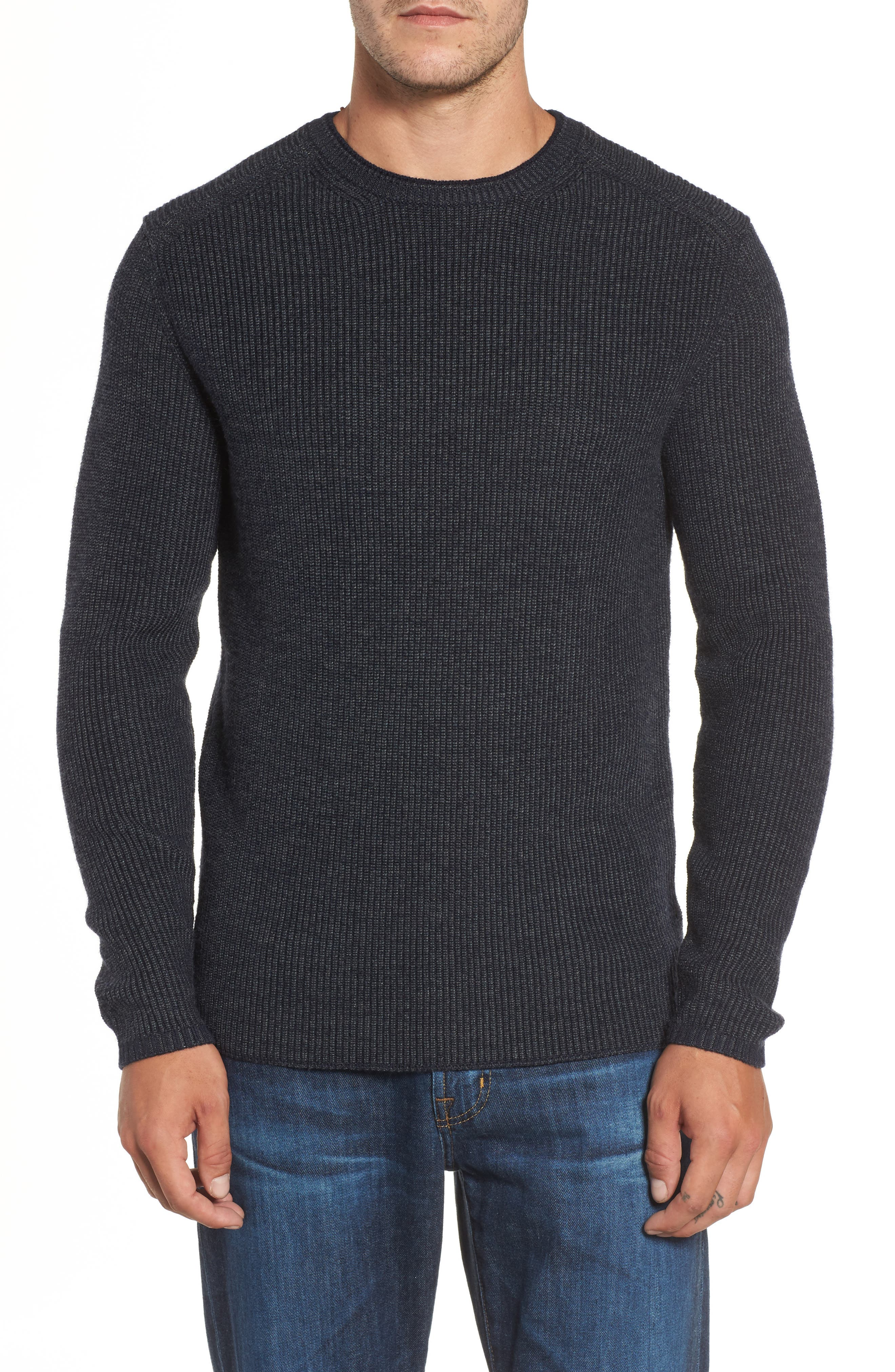 Whalers Bay Ribbed Merino Wool Sweater,                             Main thumbnail 1, color,                             Night