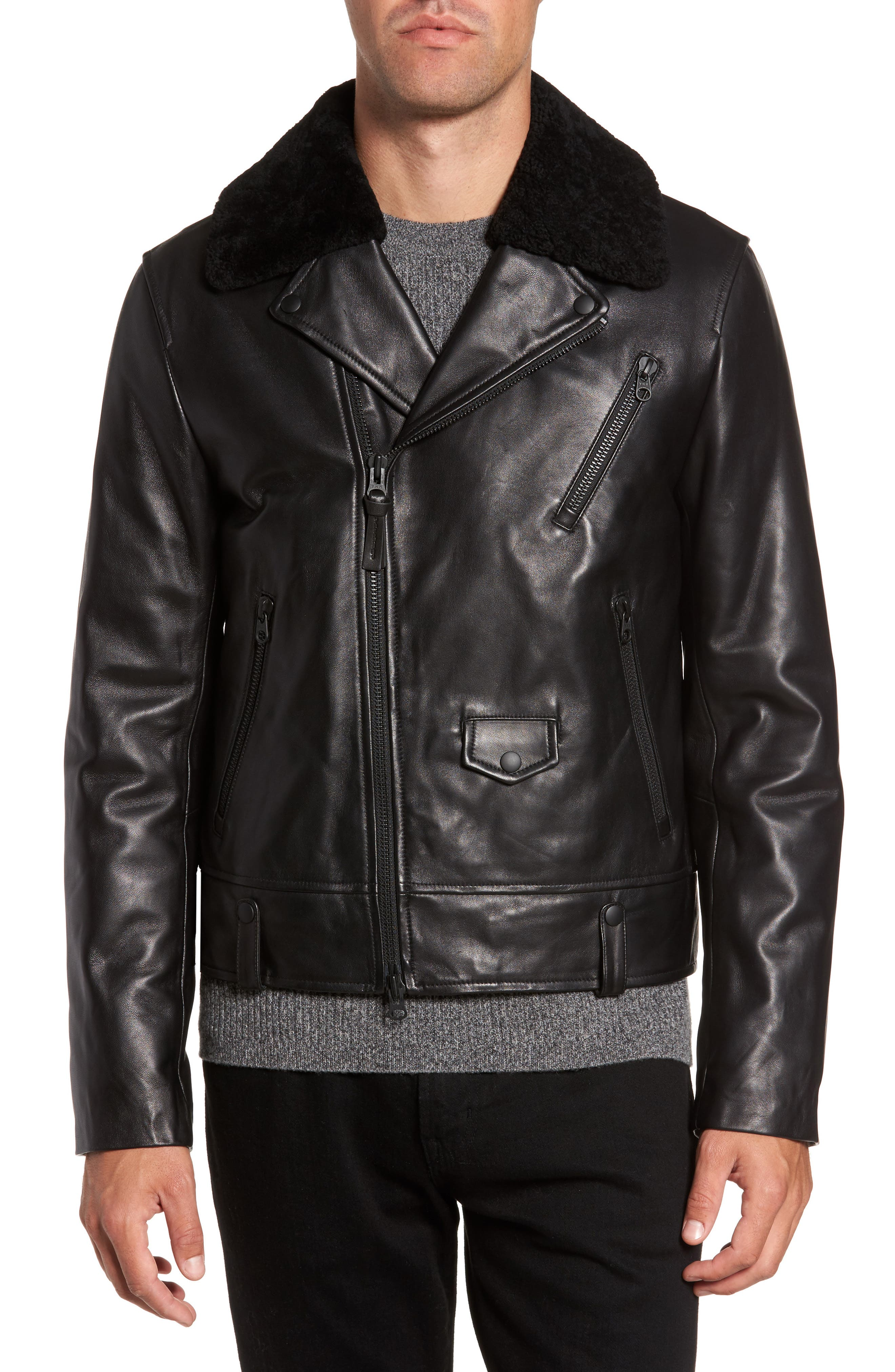 Lambskin Leather Down Jacket with Genuine Shearling Collar,                         Main,                         color, Black