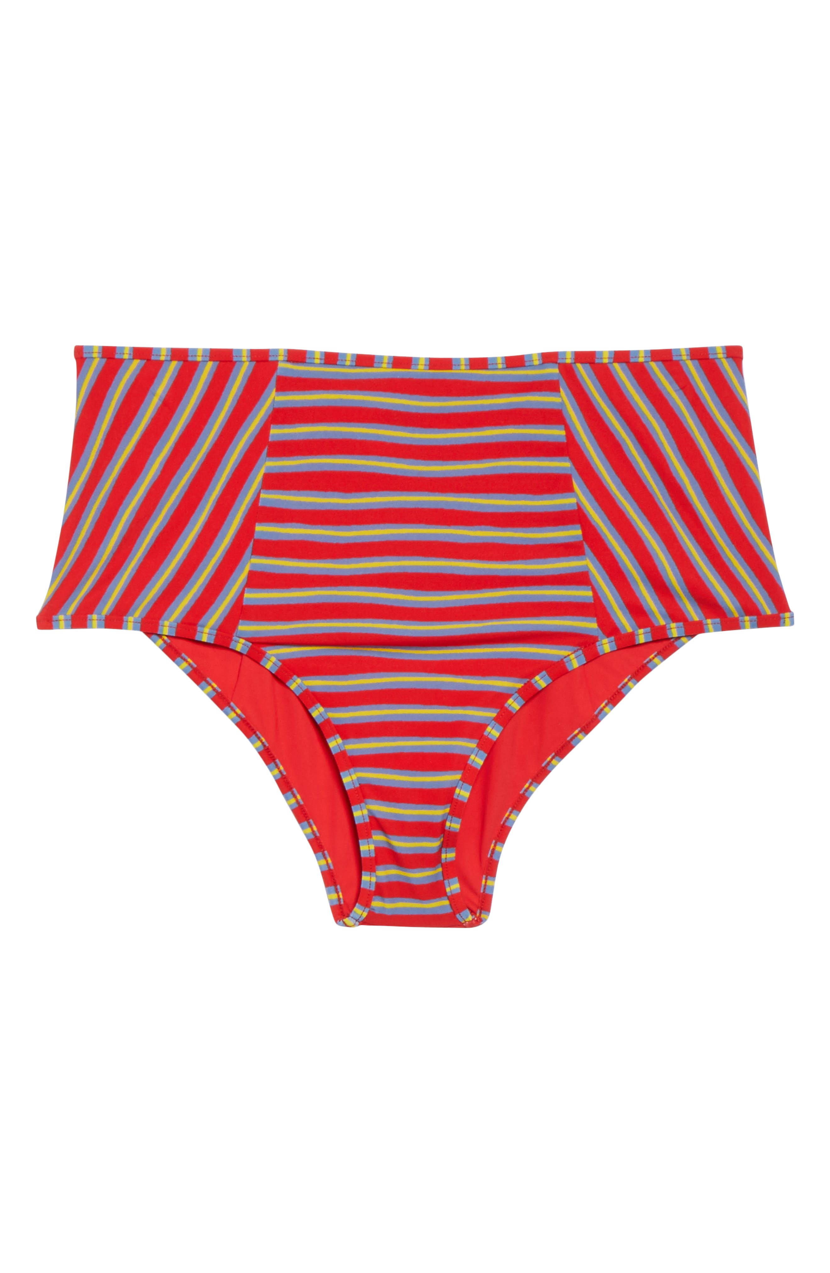 High Waist Swim Briefs,                             Alternate thumbnail 9, color,                             Bodin Stripe Bright Red