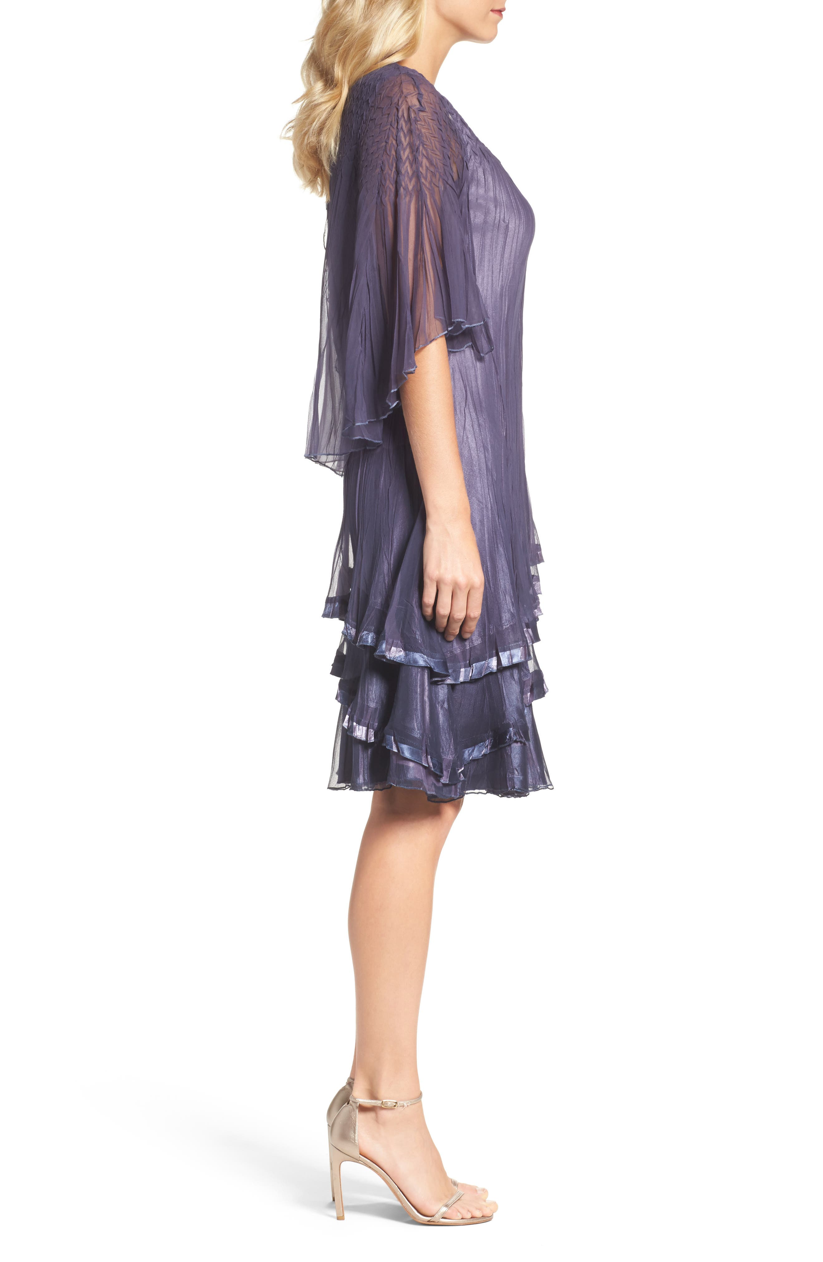 Cape Sleeve Tiered A-Line Dress,                             Alternate thumbnail 3, color,                             Purple Sage Blue
