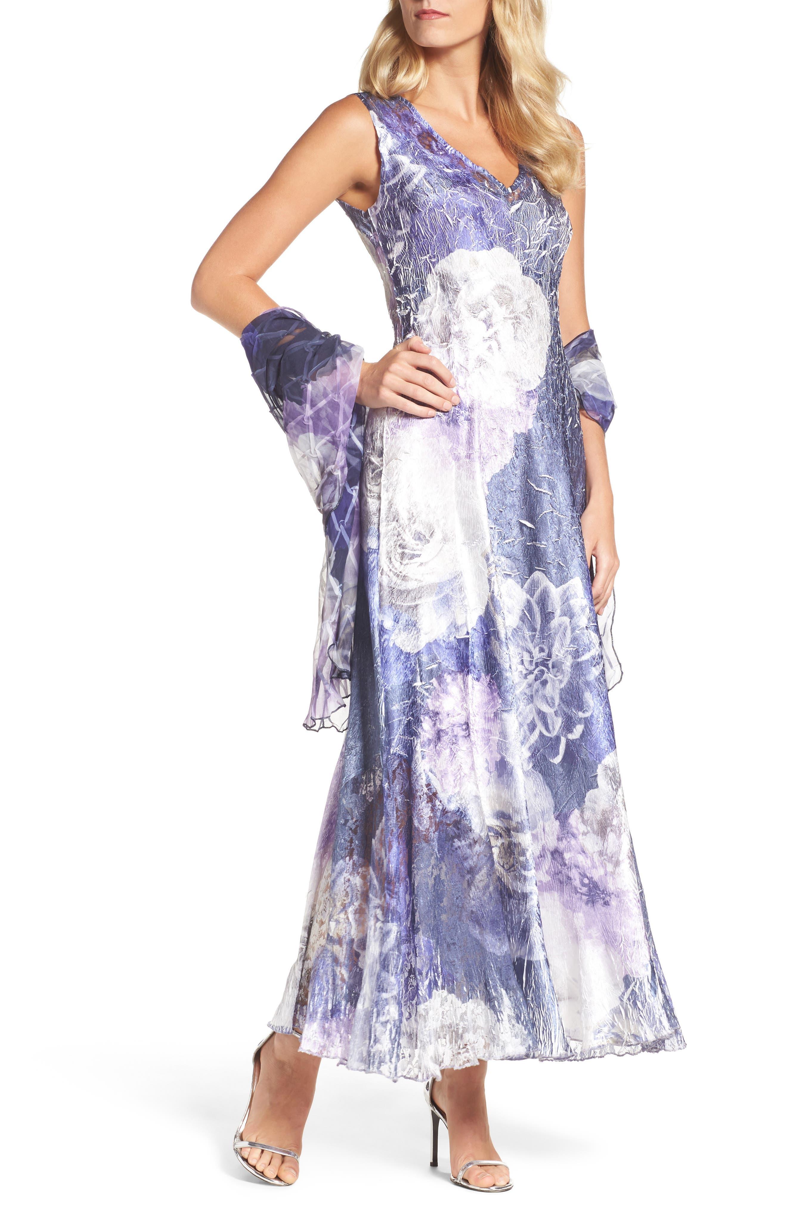 Lace-Up Back Print Maxi Dress with Shawl,                         Main,                         color, Indigo Shadow