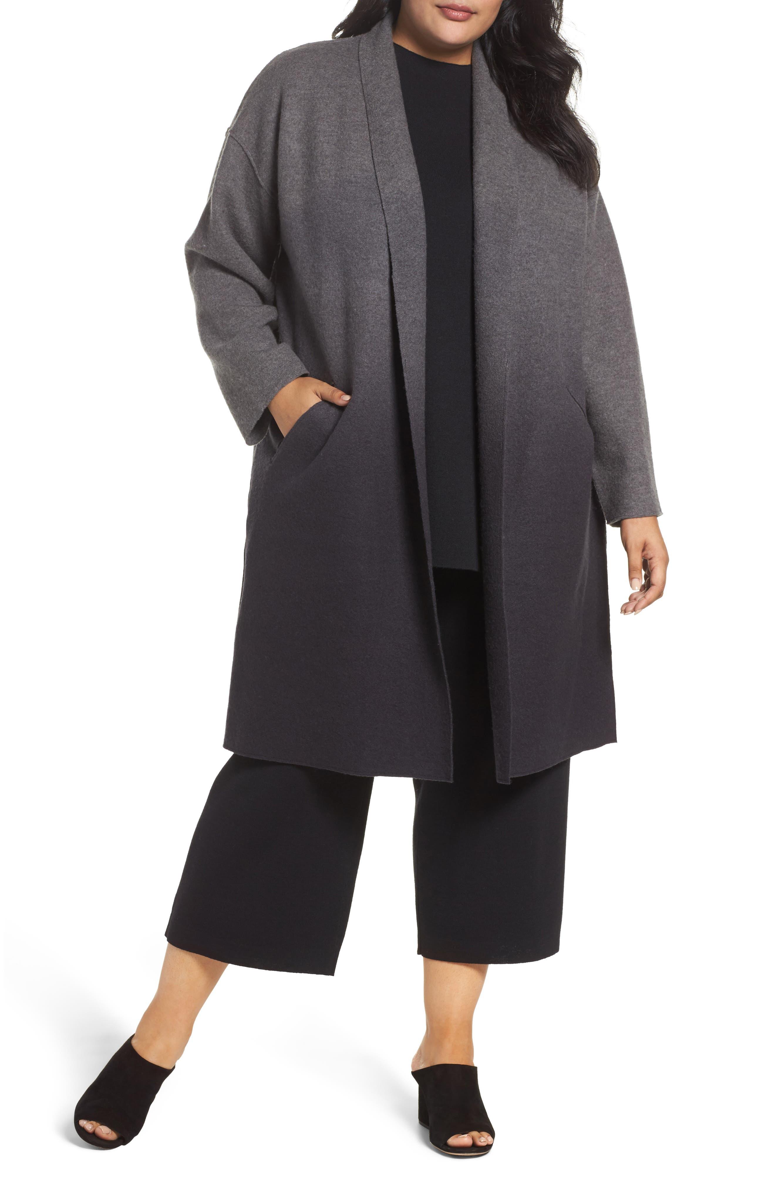 Eileen Fisher Ombré Wool Kimono Coat (Plus Size)