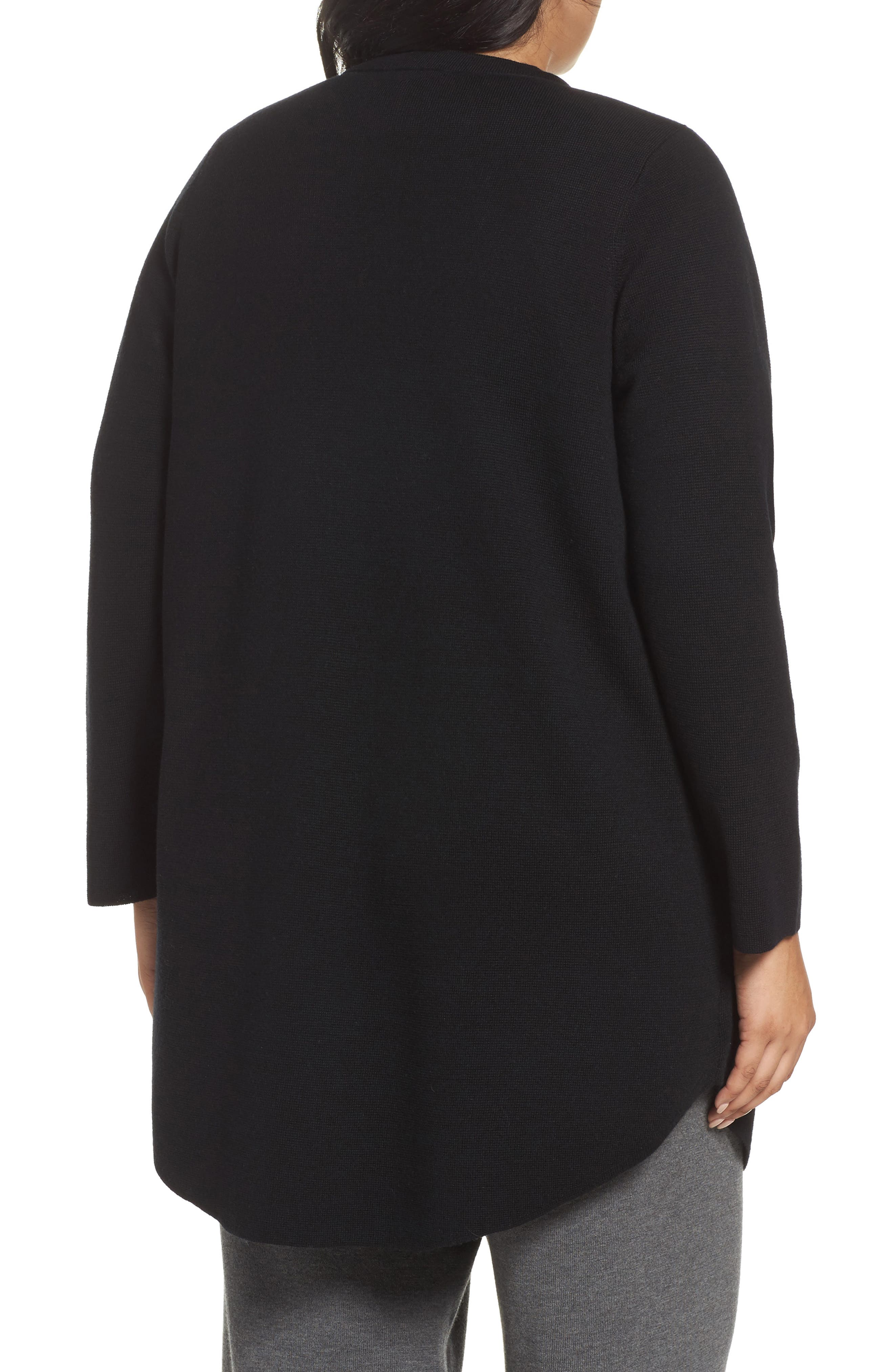 Alternate Image 2  - Eileen Fisher Mandarin Collar Merino Cardigan (Plus Size)