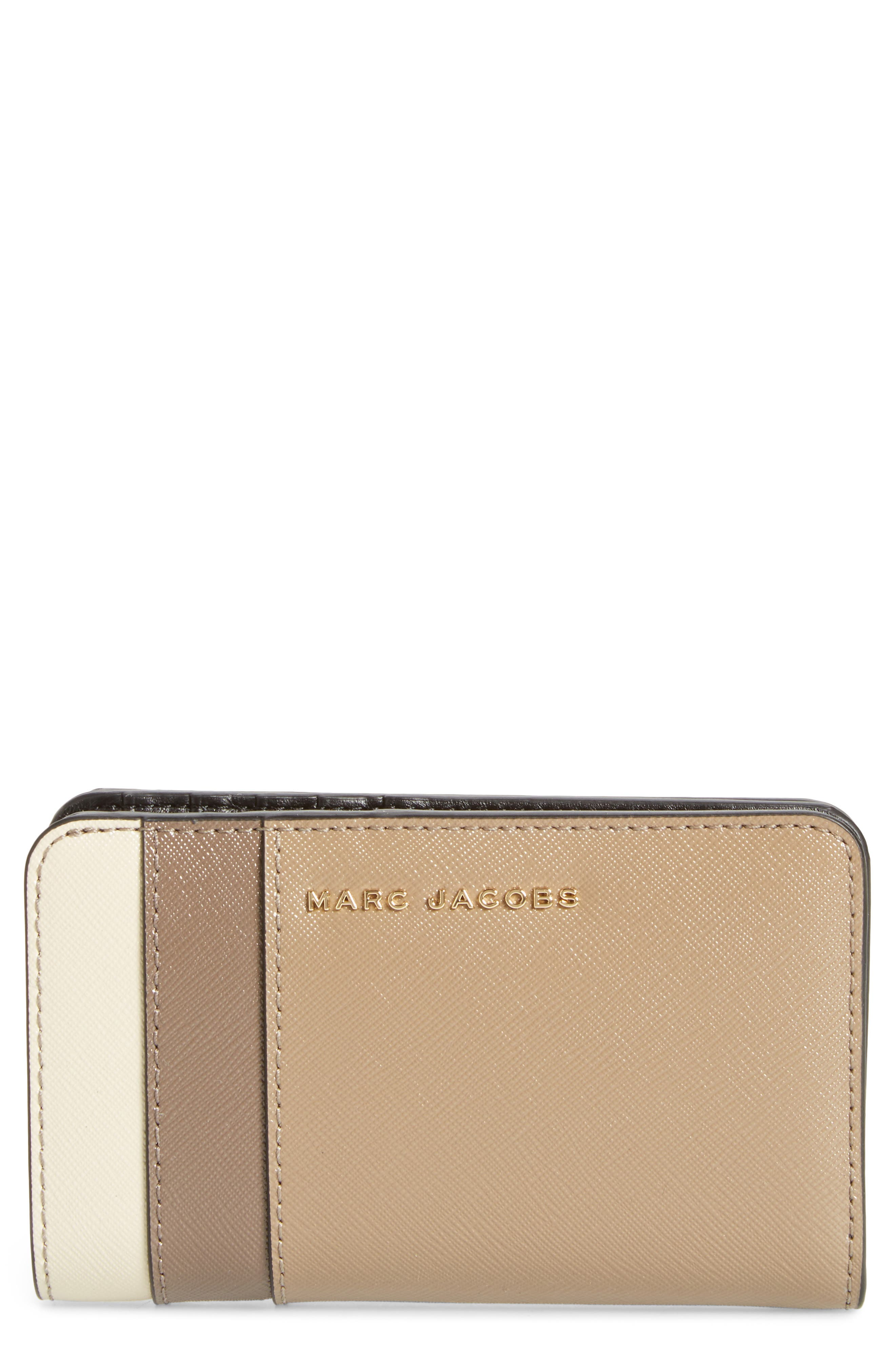 Saffiano Leather Compact Wallet,                         Main,                         color, French Grey Multi