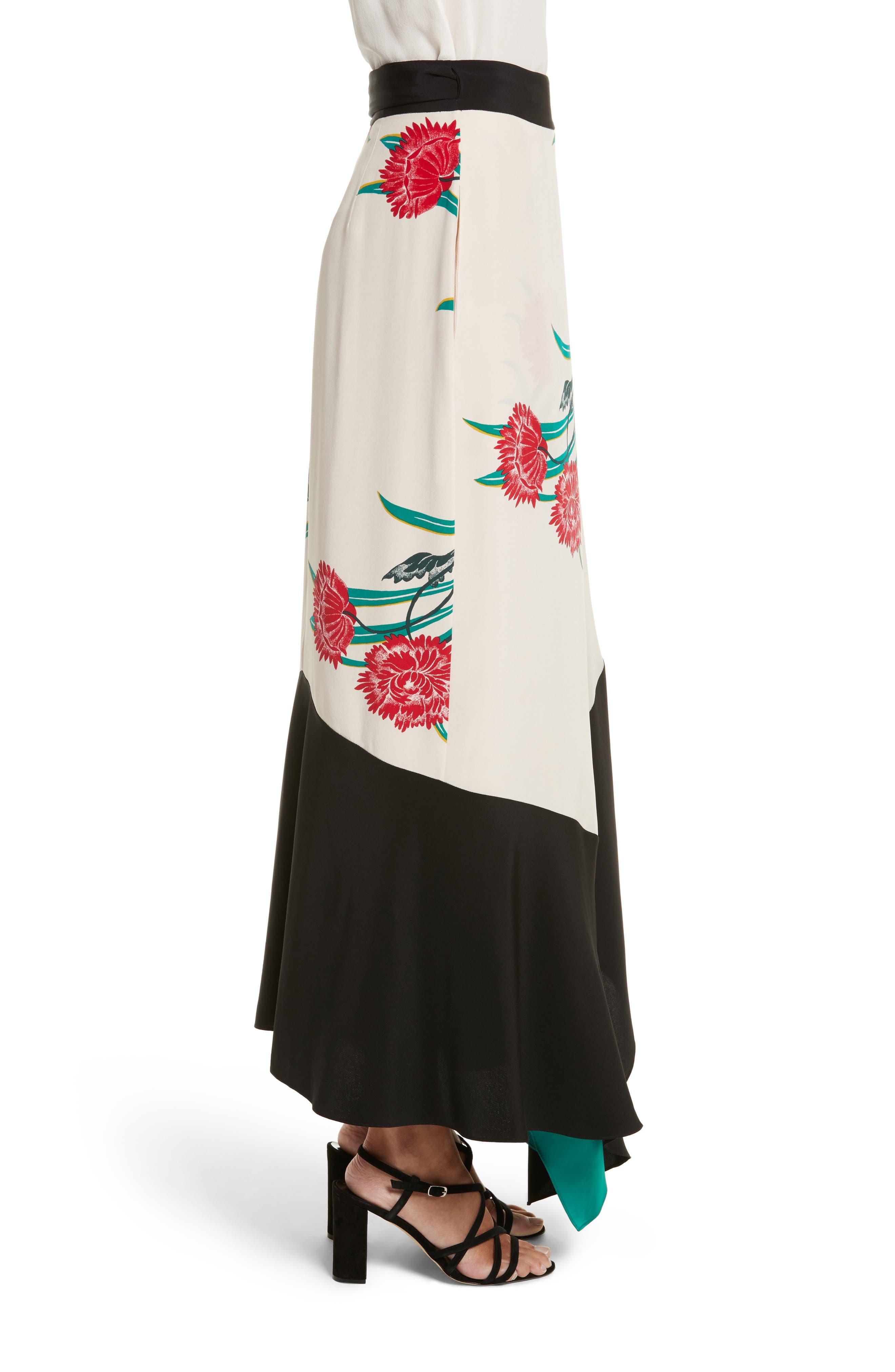 Draped Wrap Silk Midi Skirt,                             Alternate thumbnail 3, color,                             Farren Pearl/ Black/ Jade
