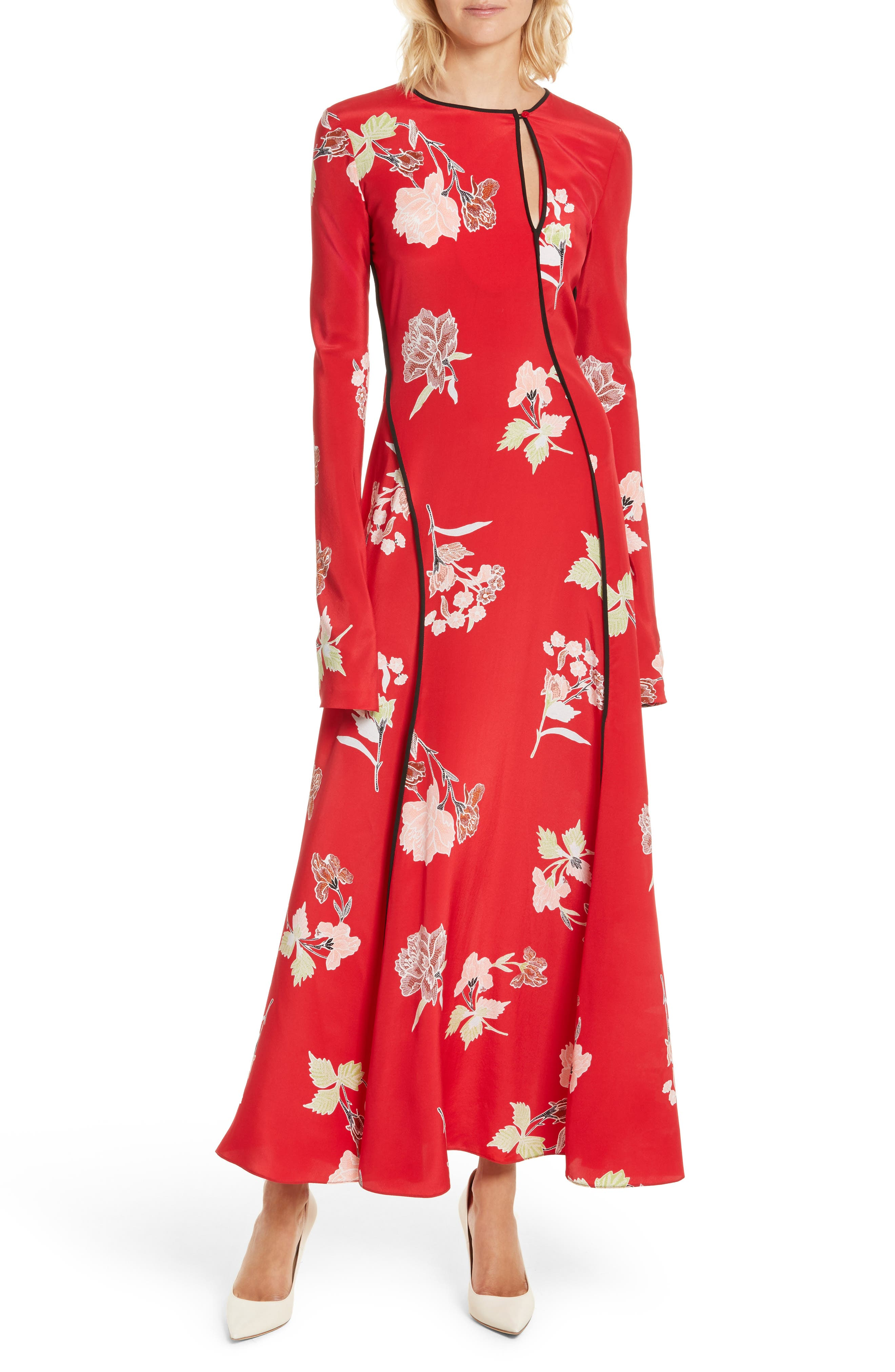 Bias Cut Floral Silk Maxi Dress,                             Main thumbnail 1, color,                             Everton Lipstick / Black