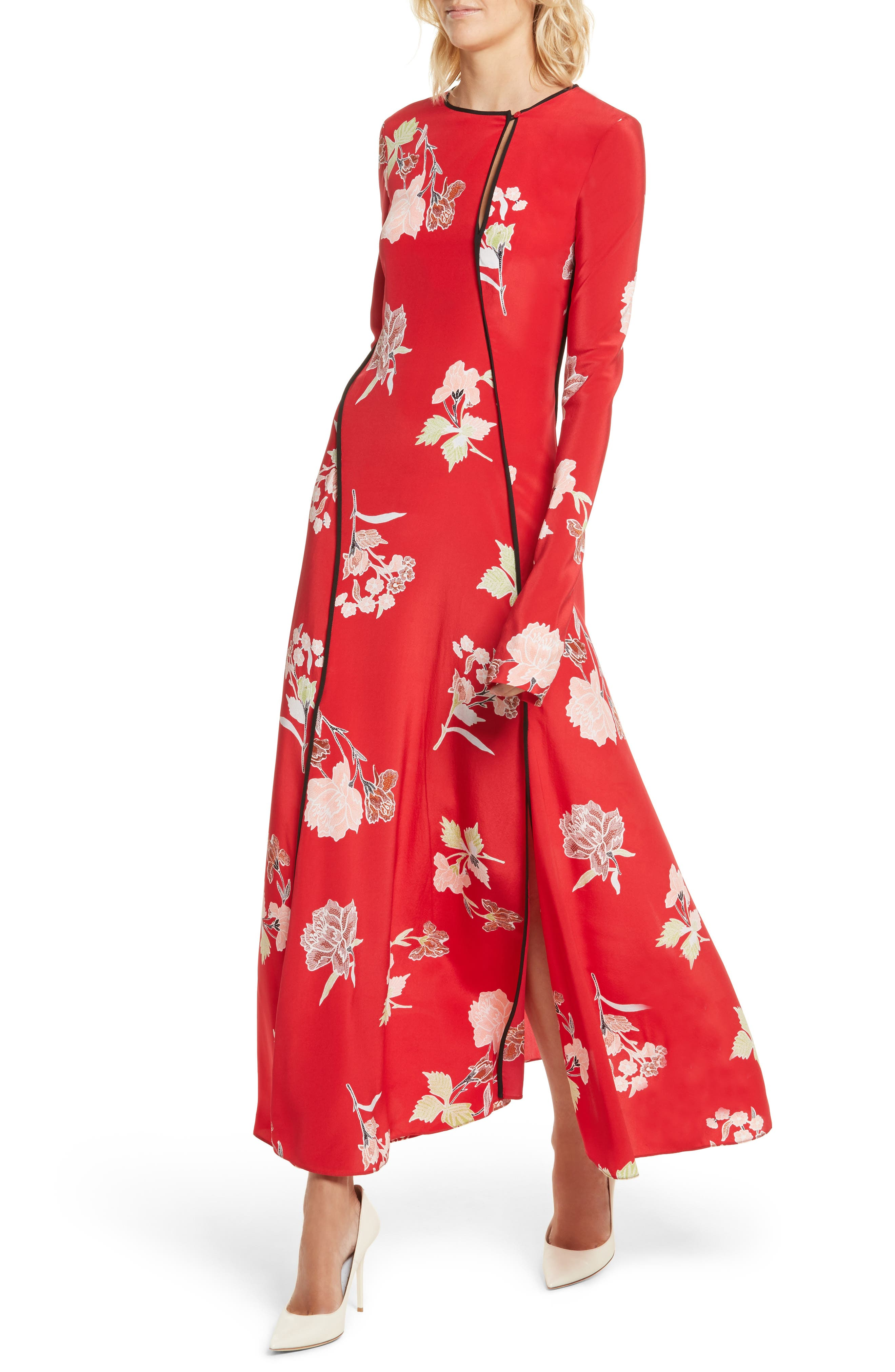 Bias Cut Floral Silk Maxi Dress,                             Alternate thumbnail 4, color,                             Everton Lipstick / Black