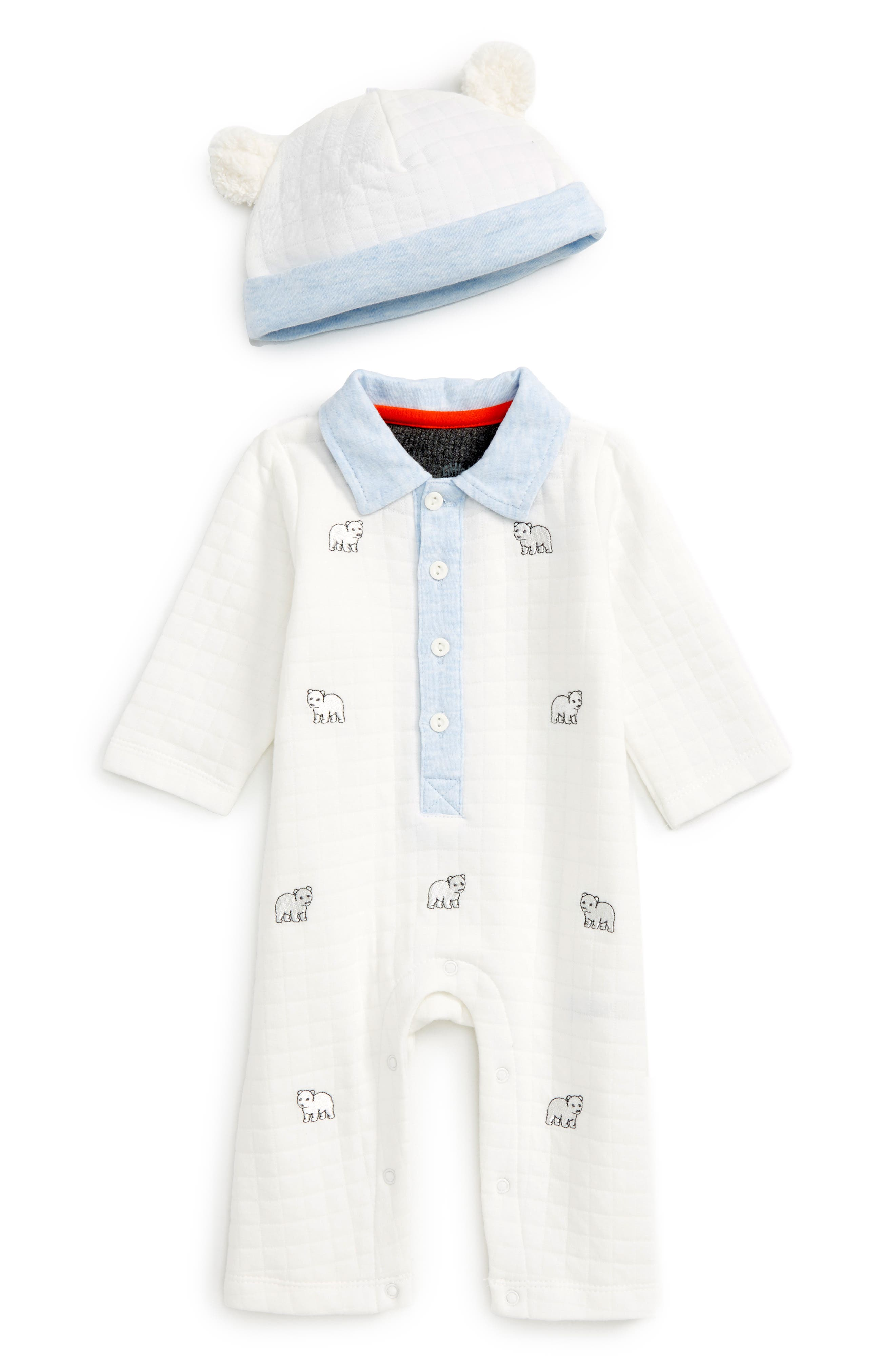 Little Me Bears Cotton Romper & Hat Set (Baby)