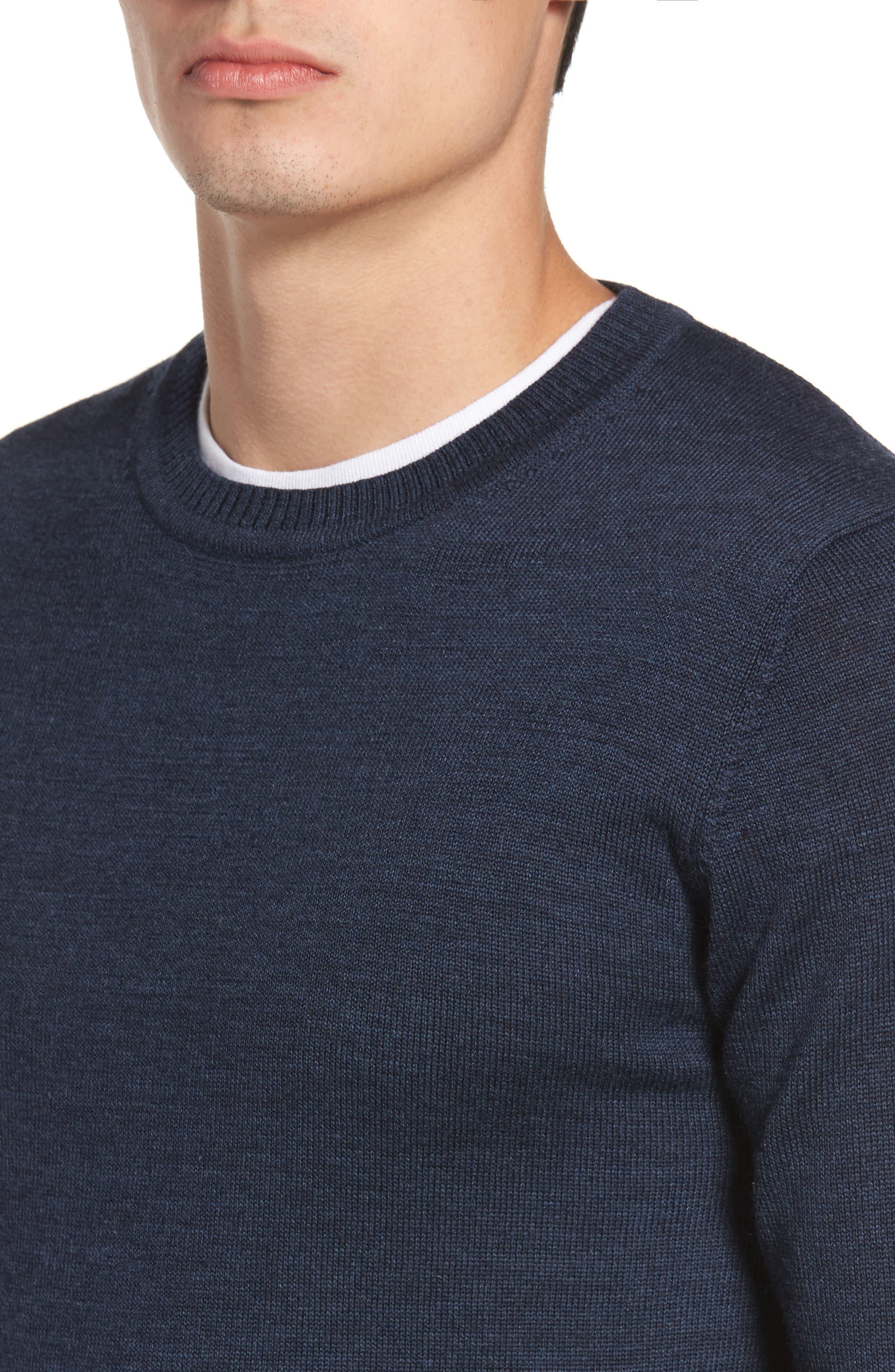 Bannockburn Mélange Merino Wool Sweater,                             Alternate thumbnail 4, color,                             Ink