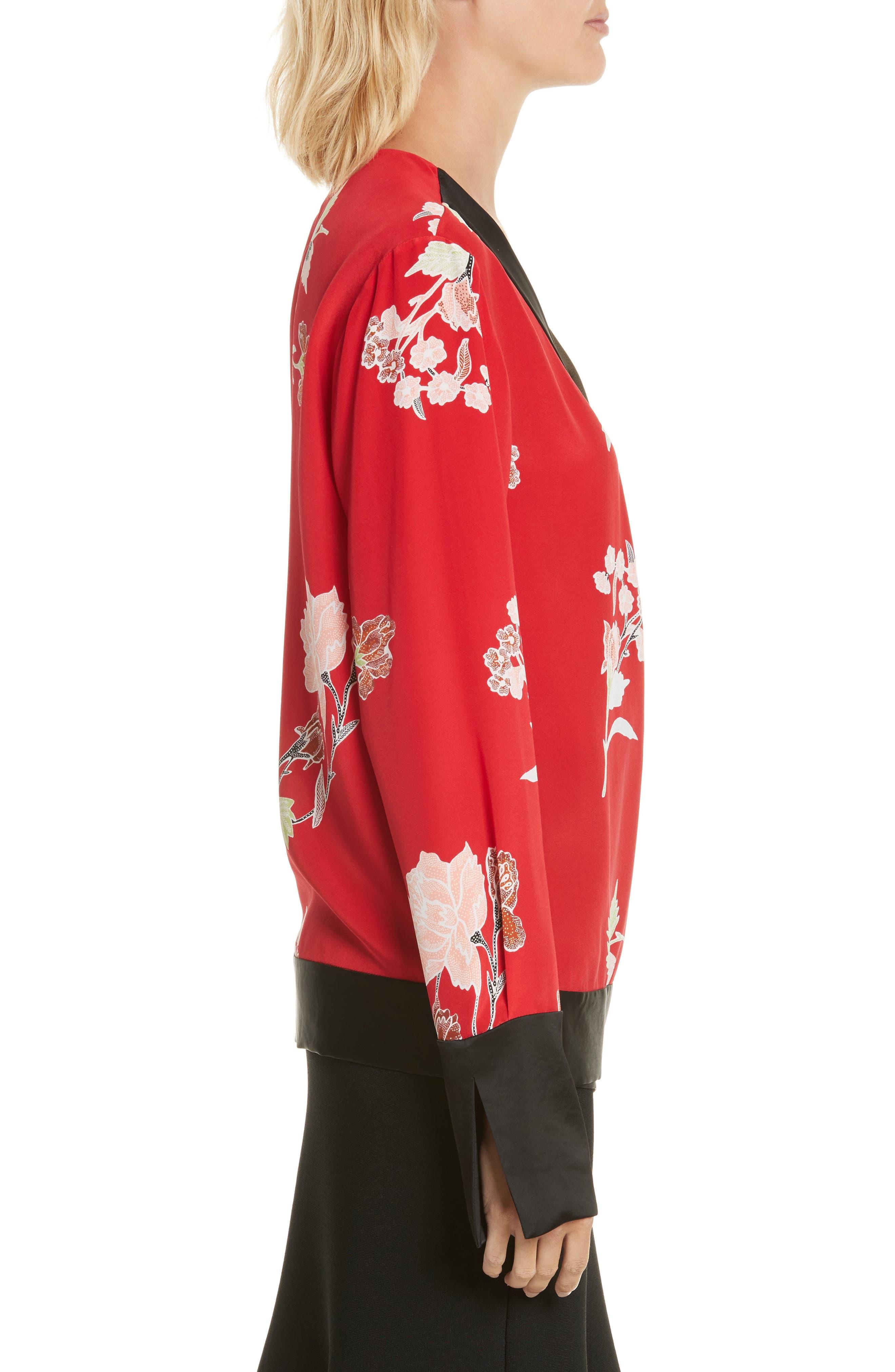 Diane von Furstenberg Bell Sleeve Crossover Silk Blouse,                             Alternate thumbnail 3, color,                             Everton Lipstick/ Olive
