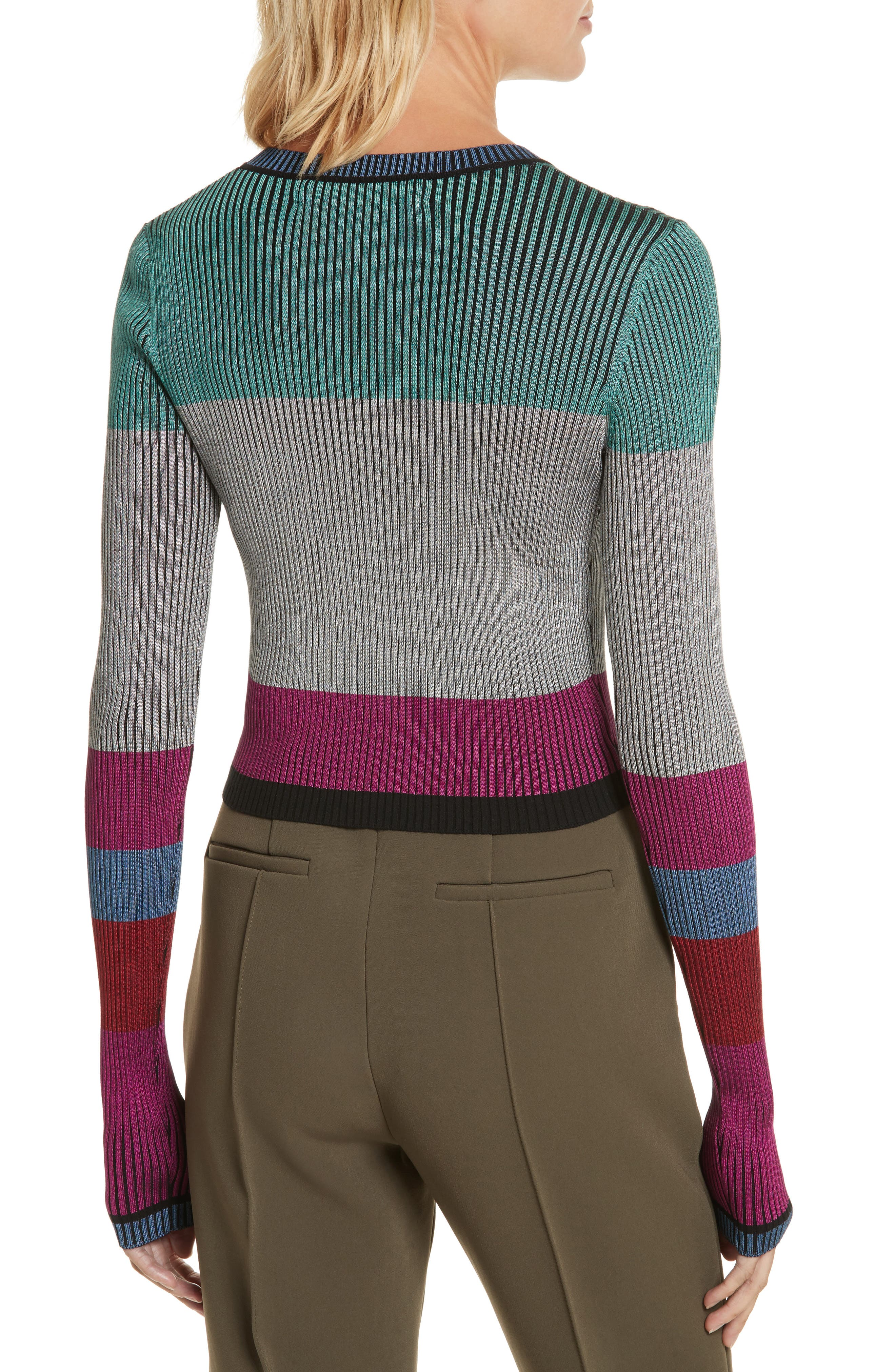 Diane von Furstenberg Cropped Plaited Pullover,                             Alternate thumbnail 2, color,                             Ribbon Pink Multi