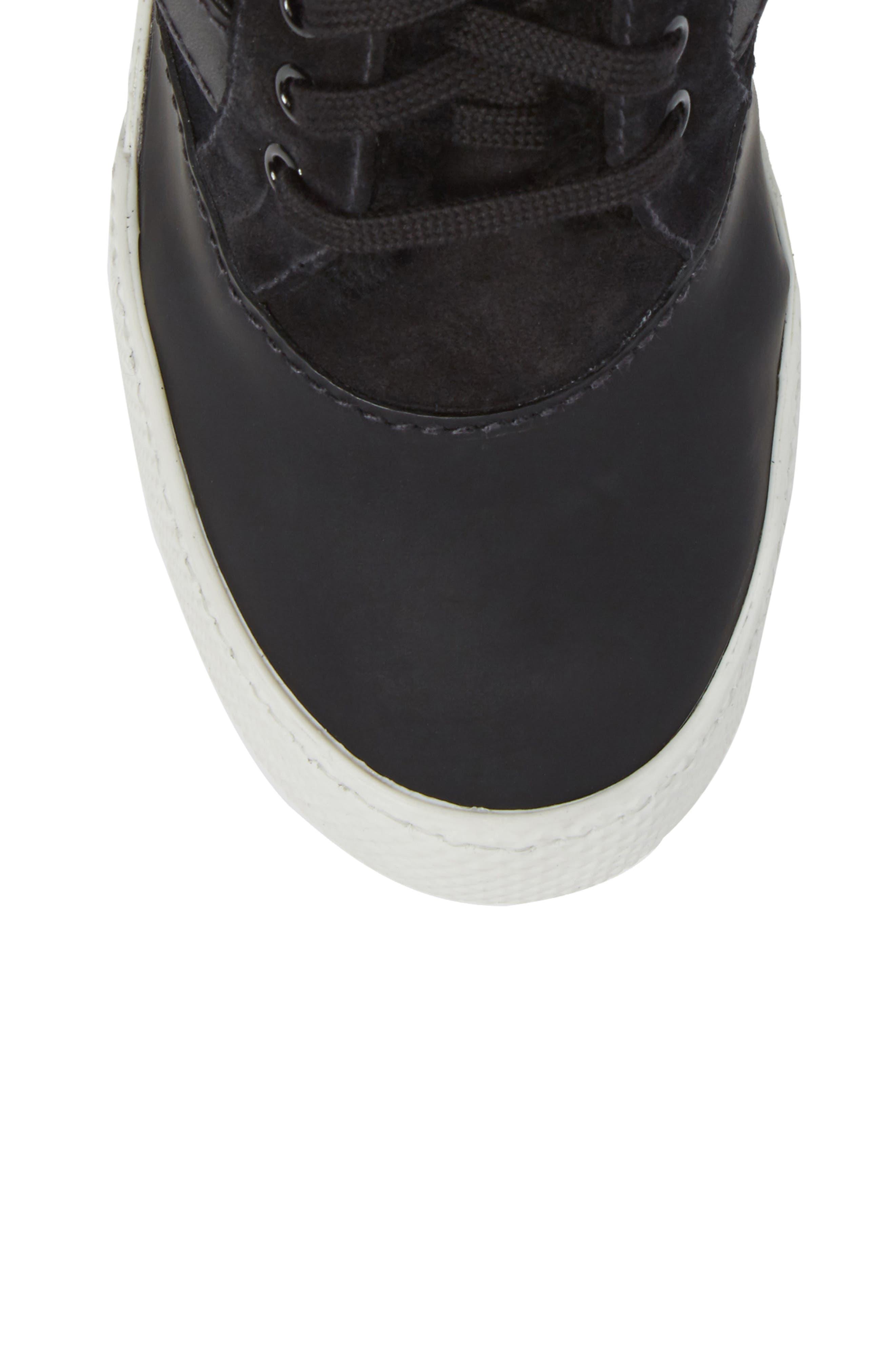 Genuine Shearling Cuffed Buckle Strap Sneaker,                             Alternate thumbnail 5, color,                             Black