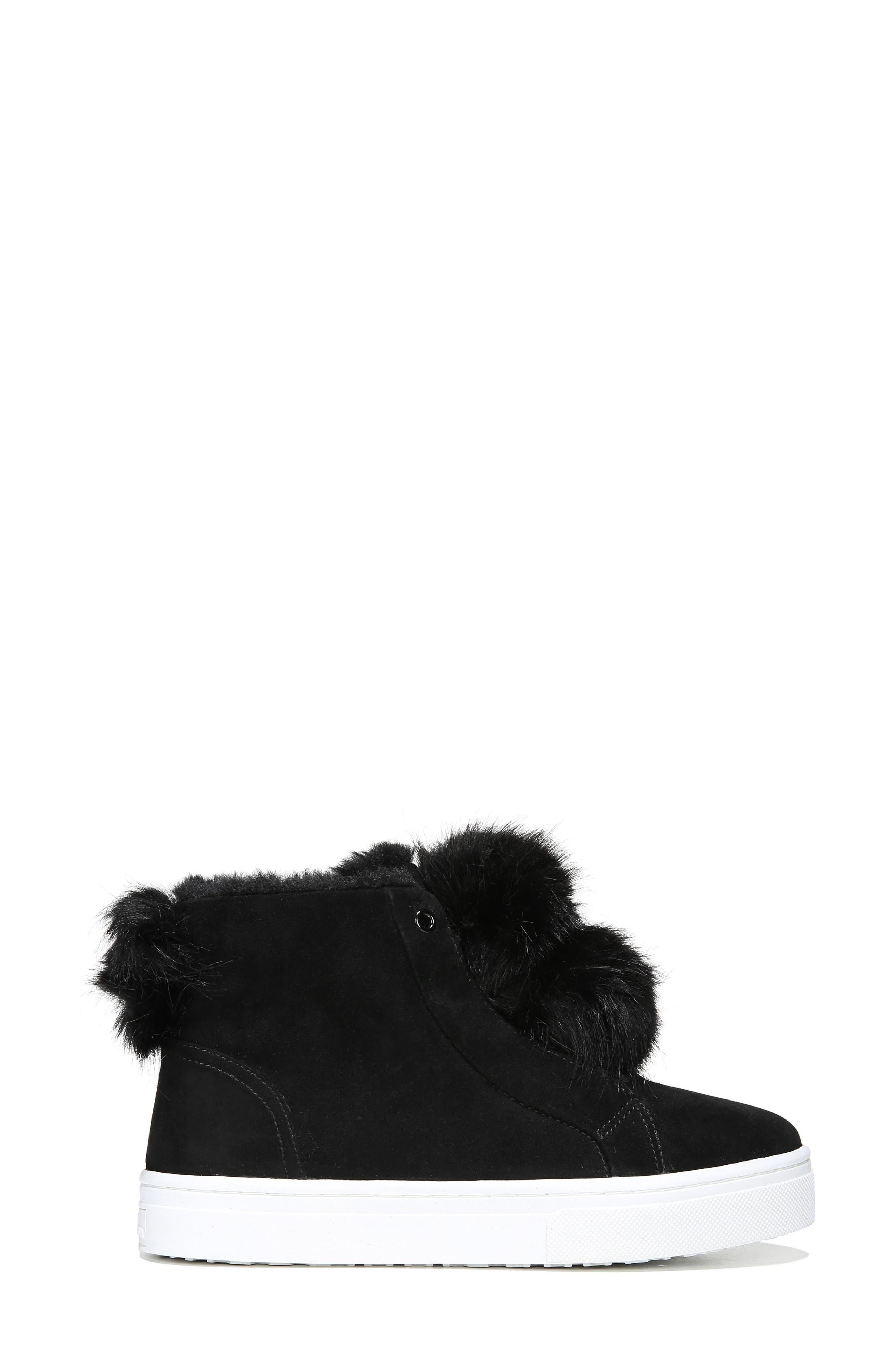 Lear Faux Fur Sneaker,                             Alternate thumbnail 3, color,                             Black Suede
