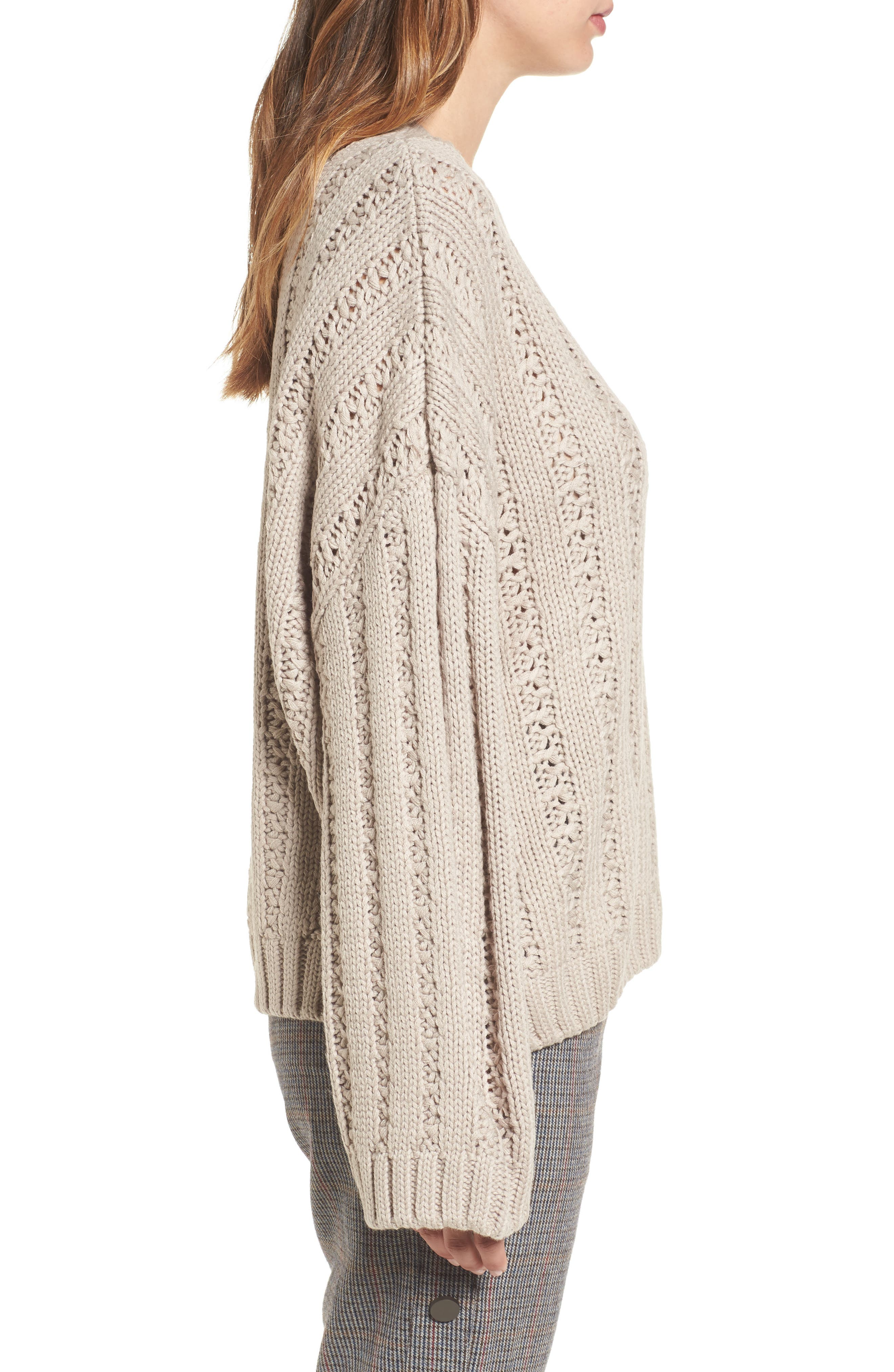 Chunky Textured Sweater,                             Alternate thumbnail 3, color,                             Heather Grey