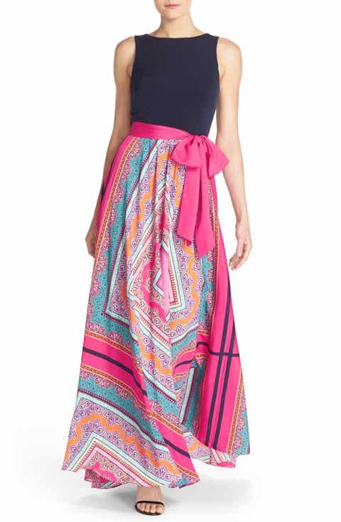 Eliza J Scarf Print Jersey Crêpe De Chine Maxi Dress Regular