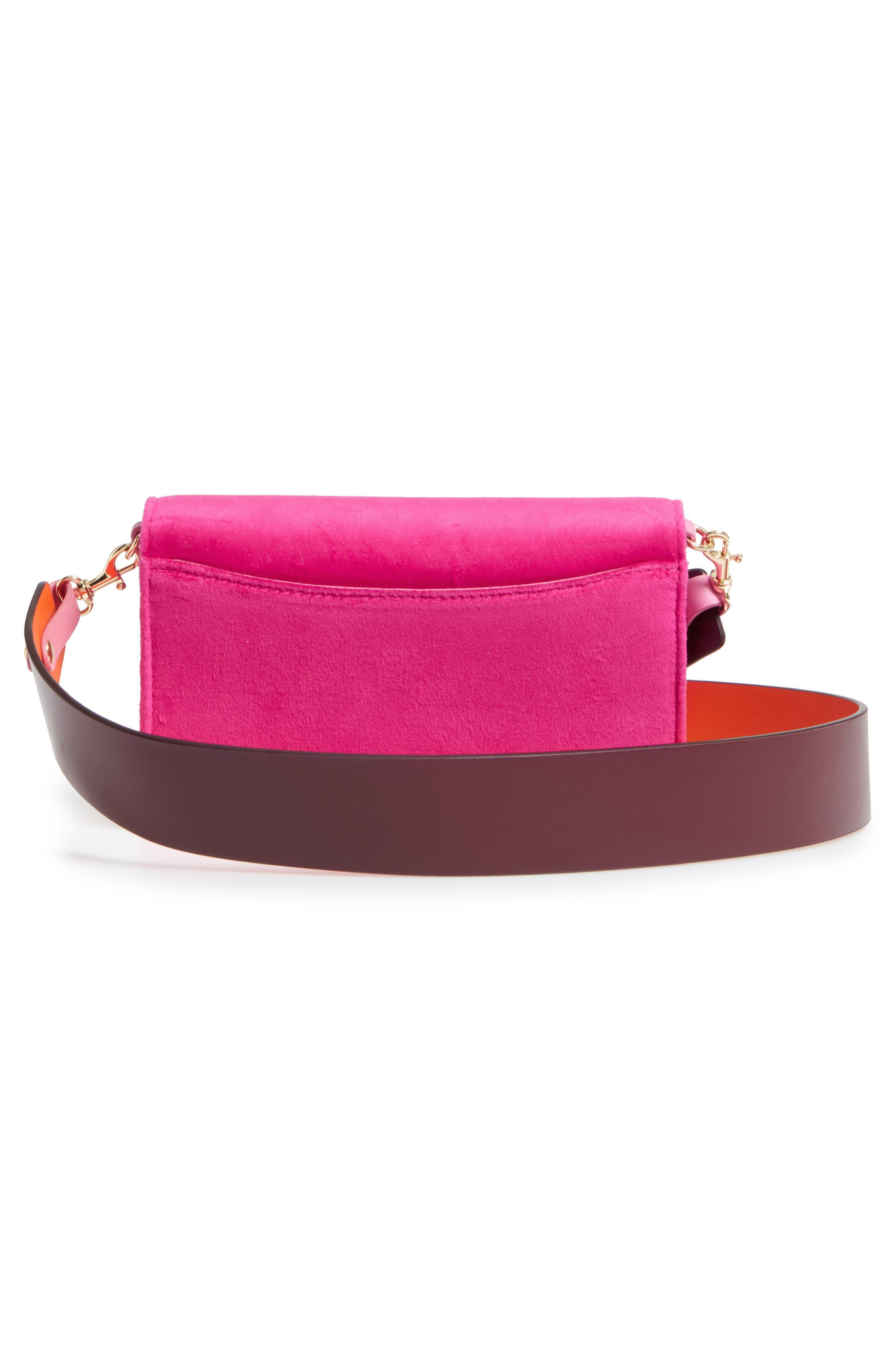 Soirée Velvet Convertible Crossbody Bag,                             Alternate thumbnail 3, color,                             Pink Azalea