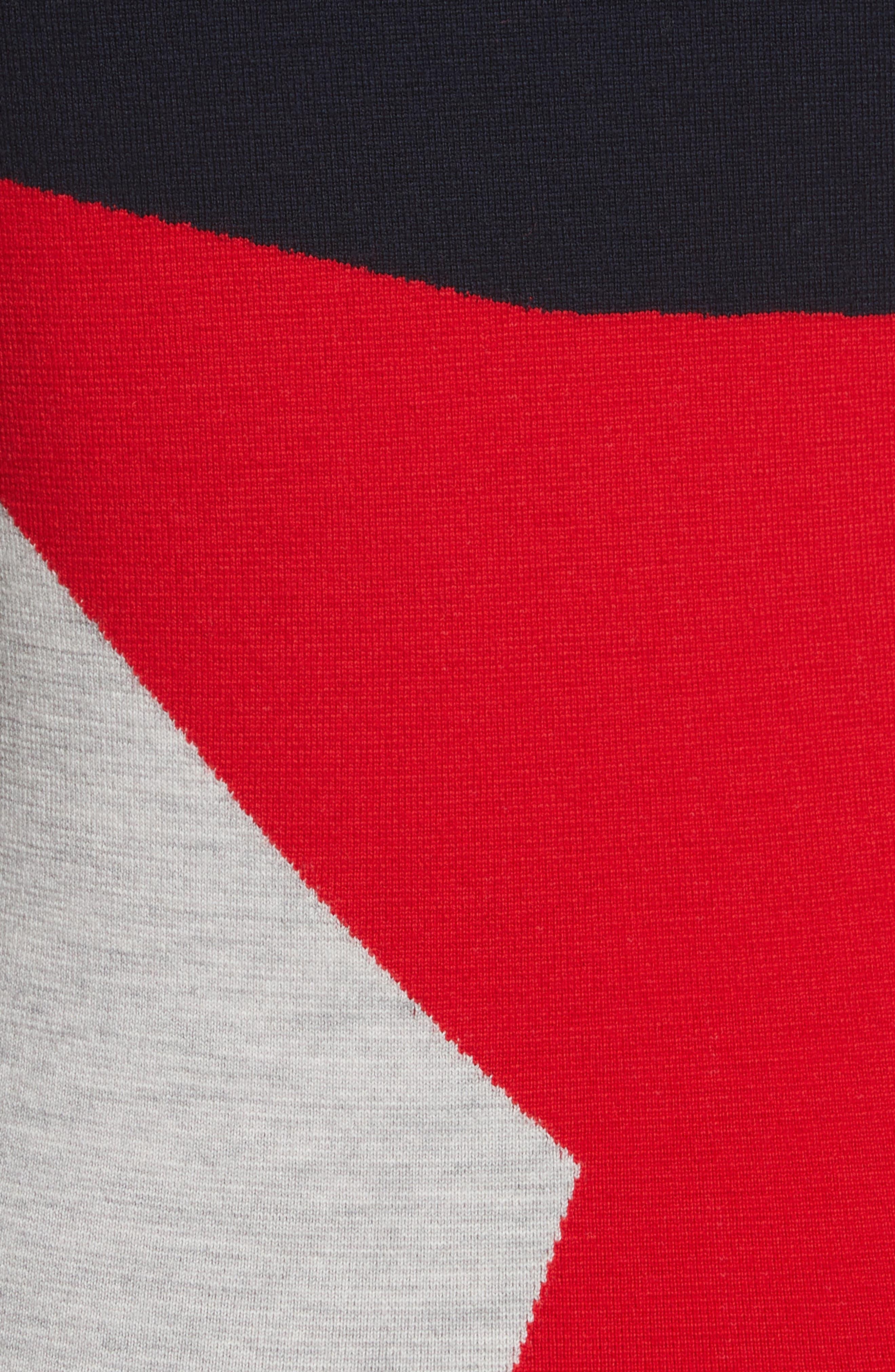 Diane von Furstenberg Colorblock Turtleneck Pullover,                             Alternate thumbnail 5, color,                             Lipstick Multi