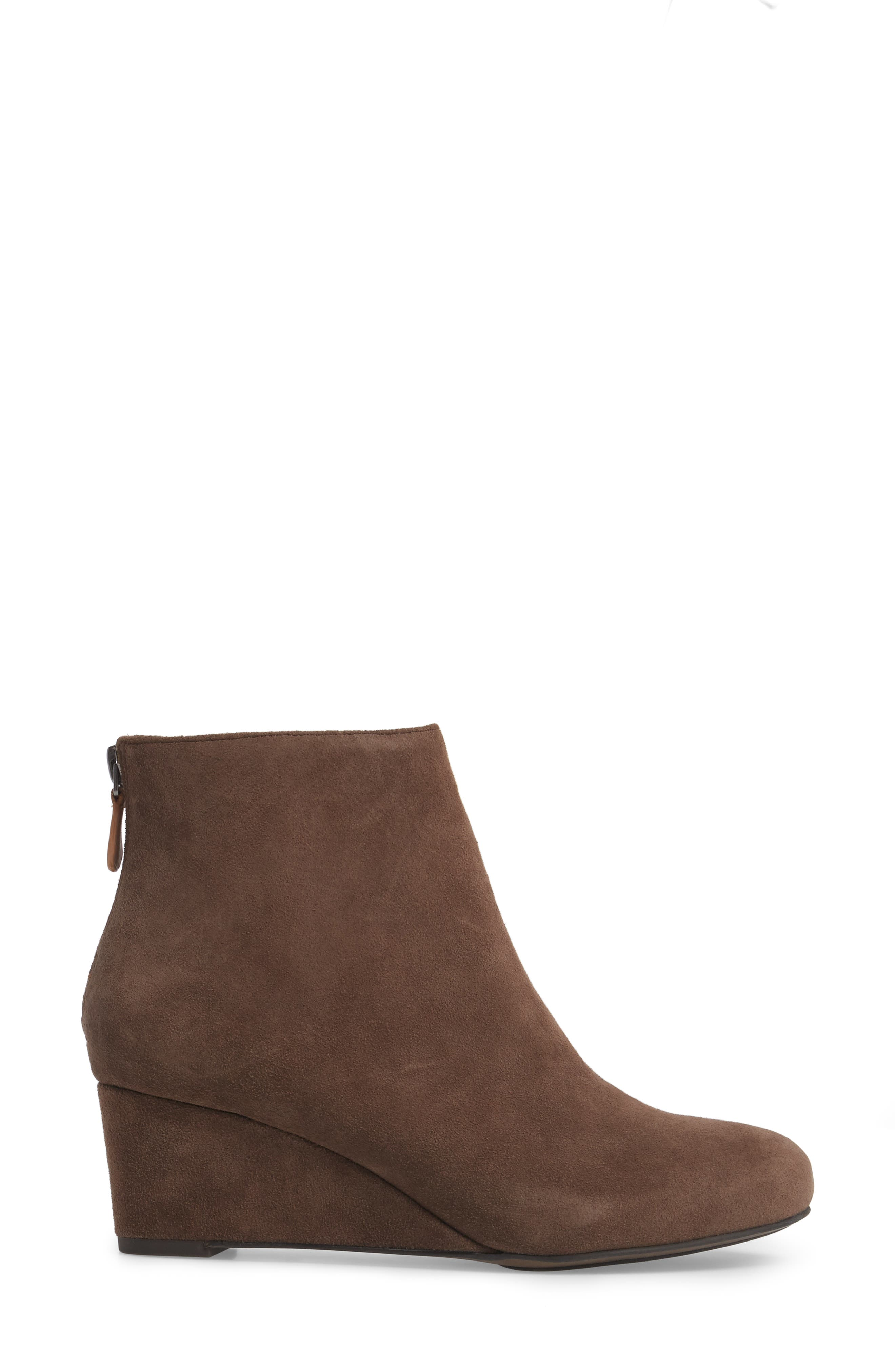 by Kenneth Cole Vicki Wedge Bootie,                             Alternate thumbnail 3, color,                             Dark Brown Suede