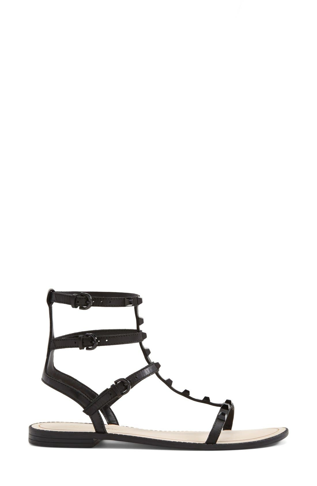'Georgina' Studded Leather Sandal,                             Alternate thumbnail 4, color,                             Black