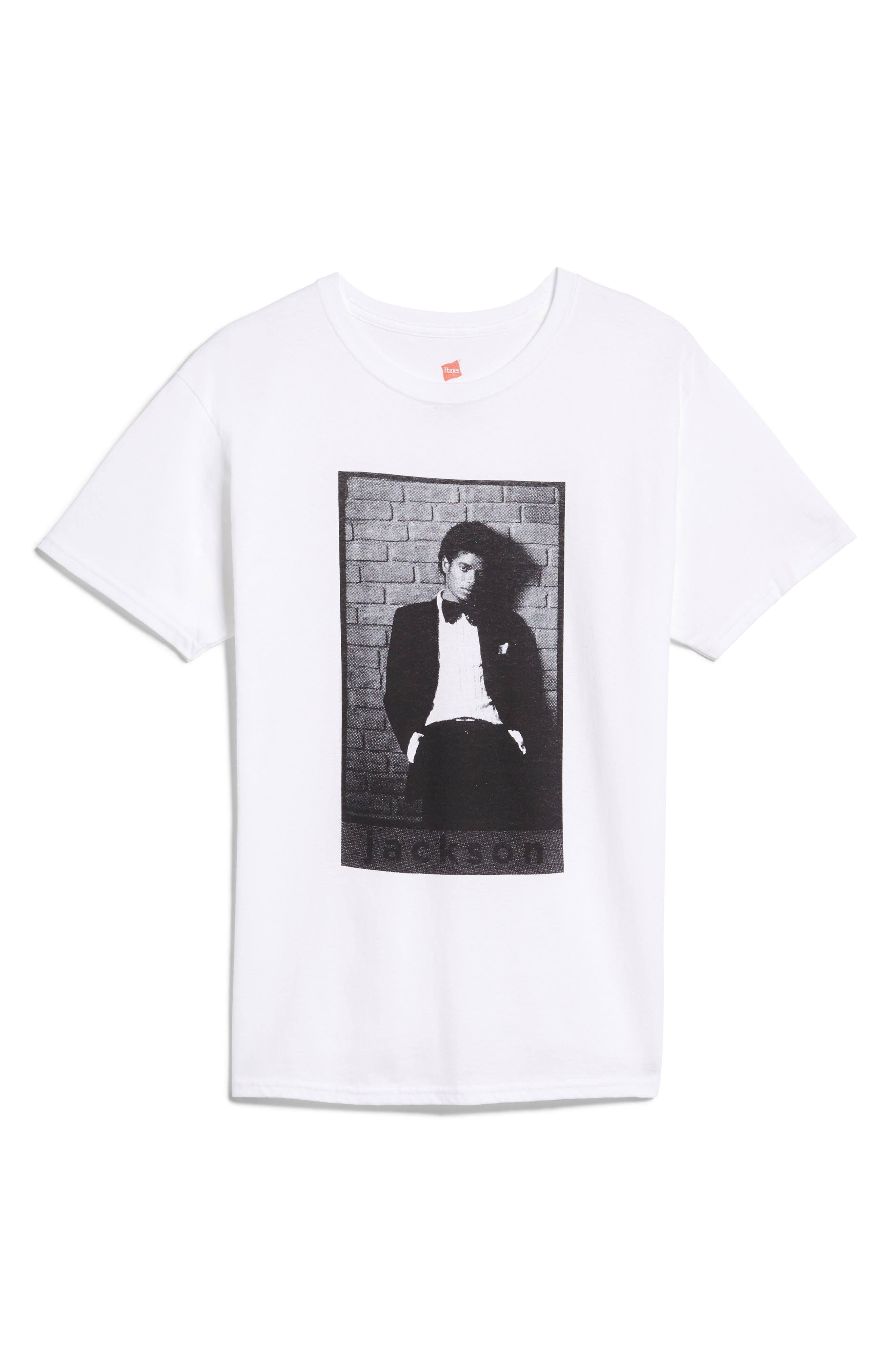 Michael Jackson T-Shirt,                             Main thumbnail 1, color,                             White