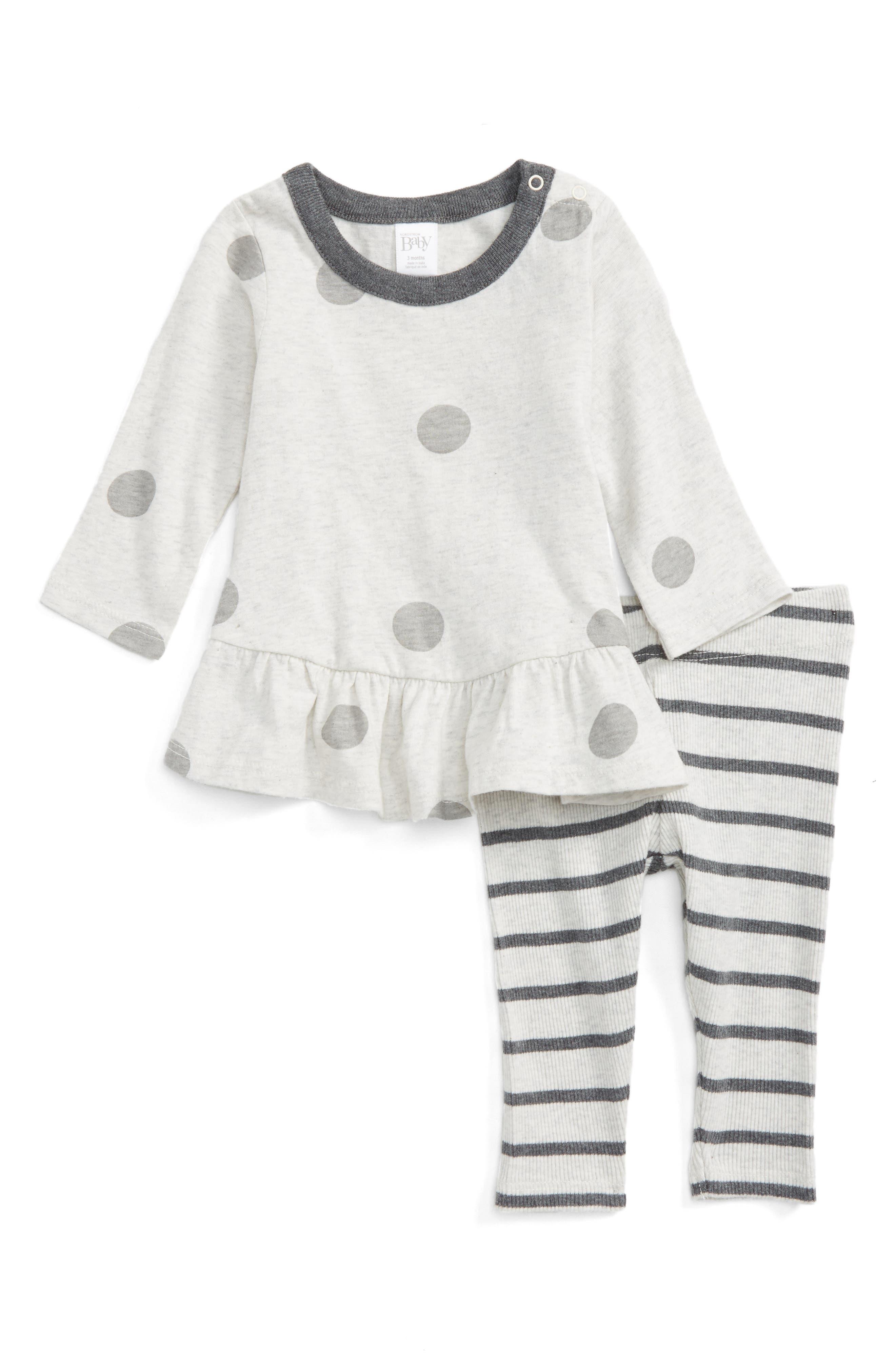 Polka Dot Peplum Tunic & Stripe Leggings Set,                         Main,                         color, Ivory Egret Heather Dot