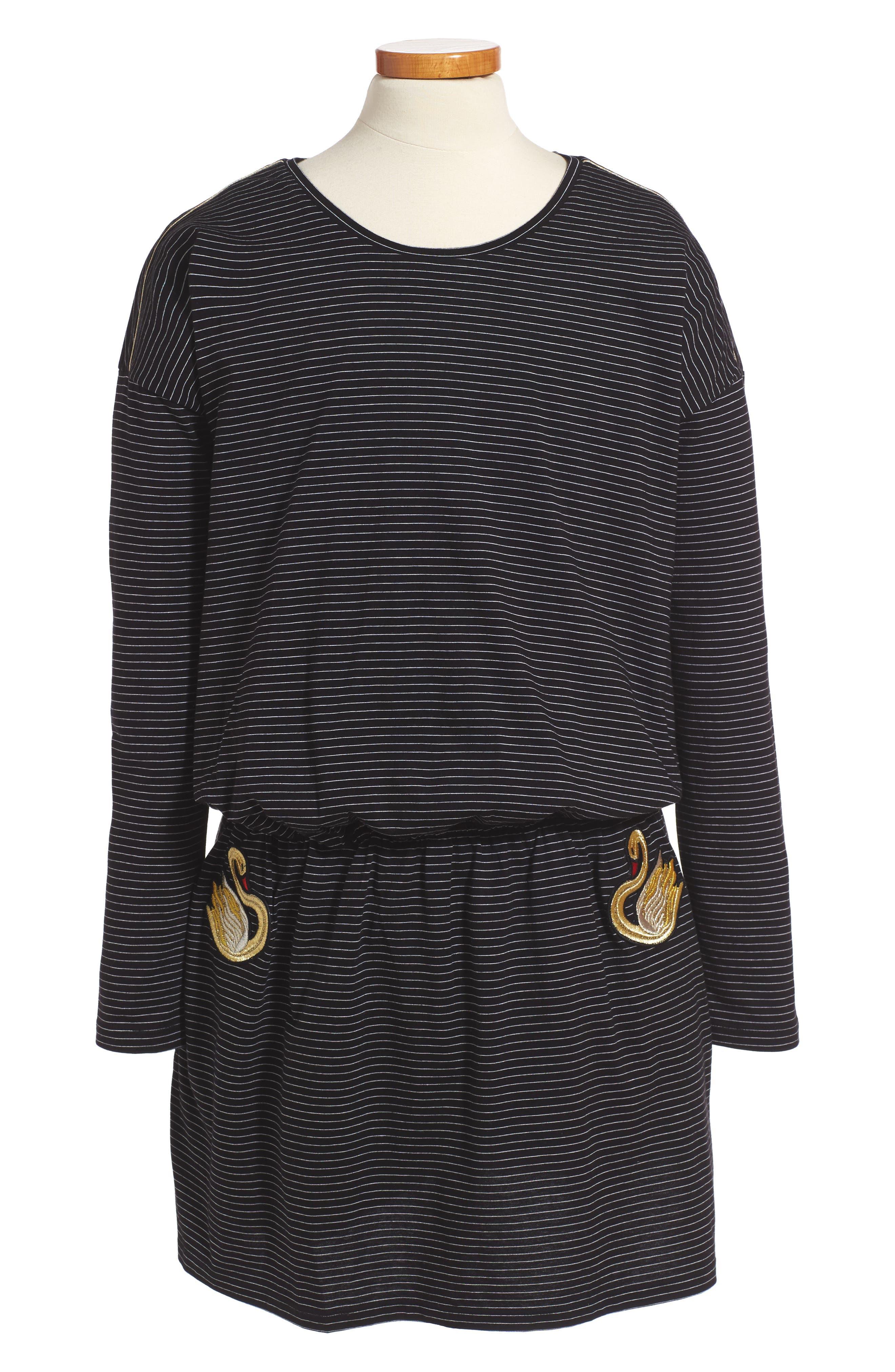 Swan Embroidered Blouson Dress,                             Main thumbnail 1, color,                             Black