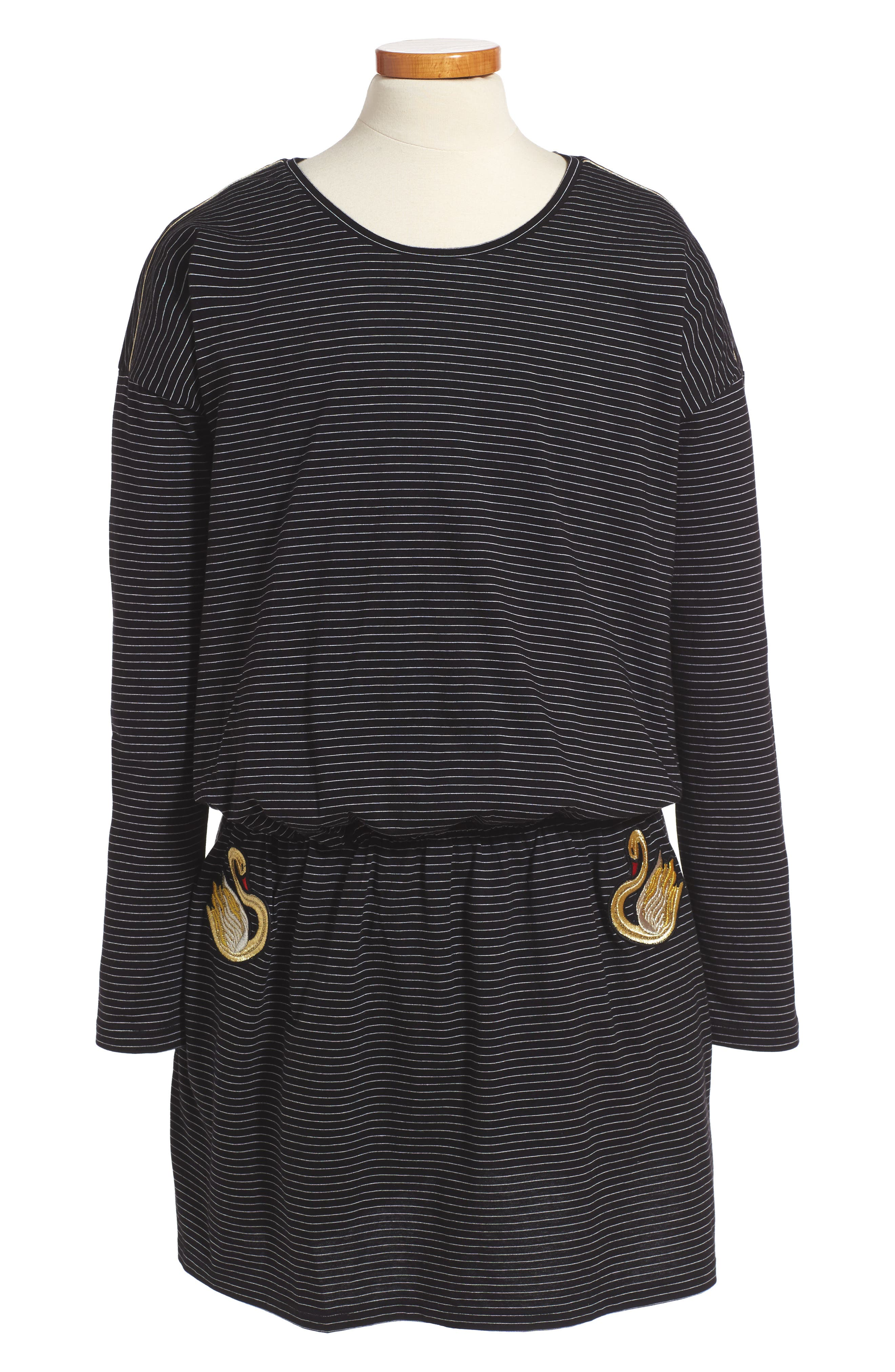 Swan Embroidered Blouson Dress,                         Main,                         color, Black