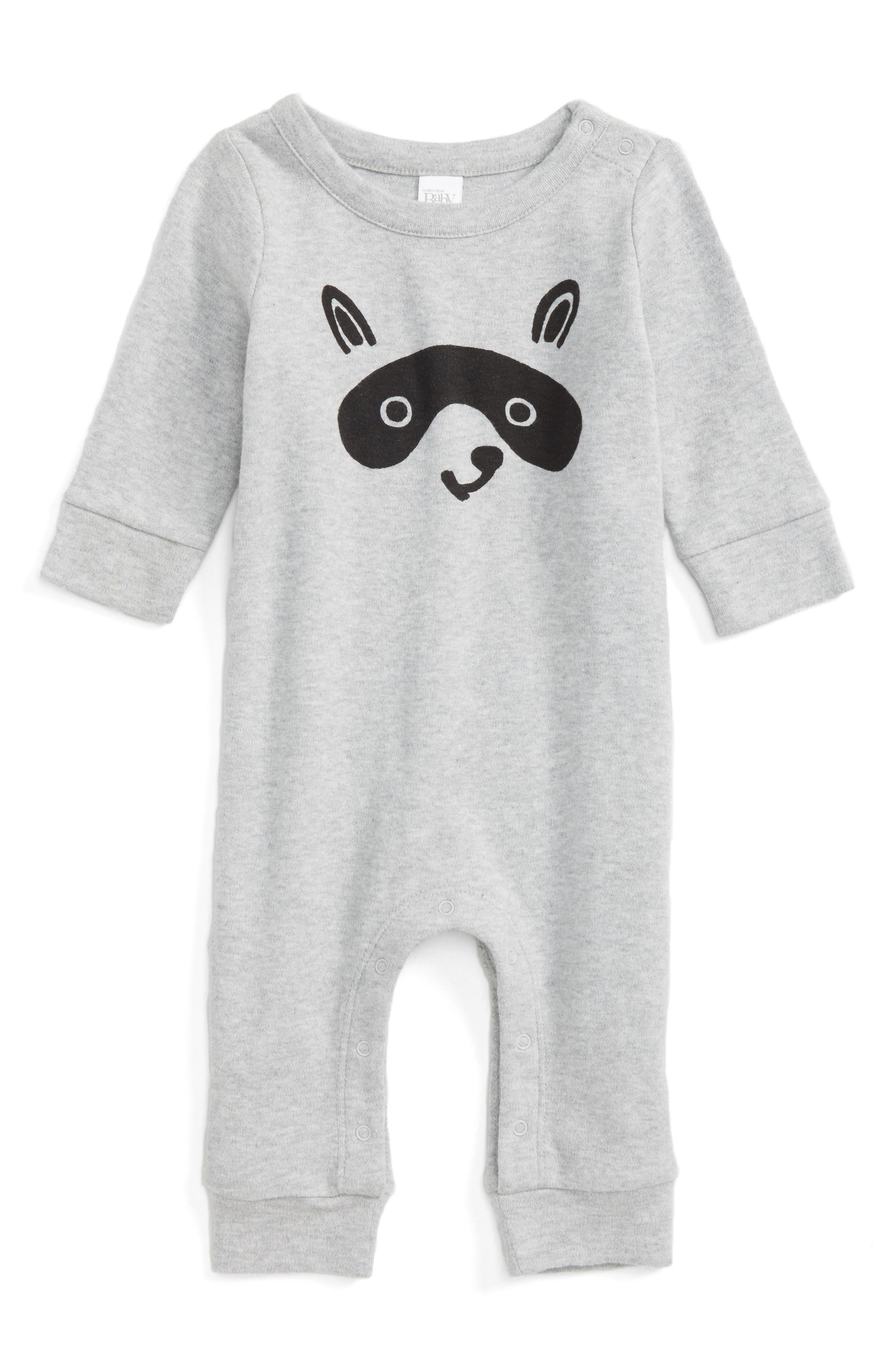 Main Image - Nordstrom Baby Raccoon Face Romper (Baby)