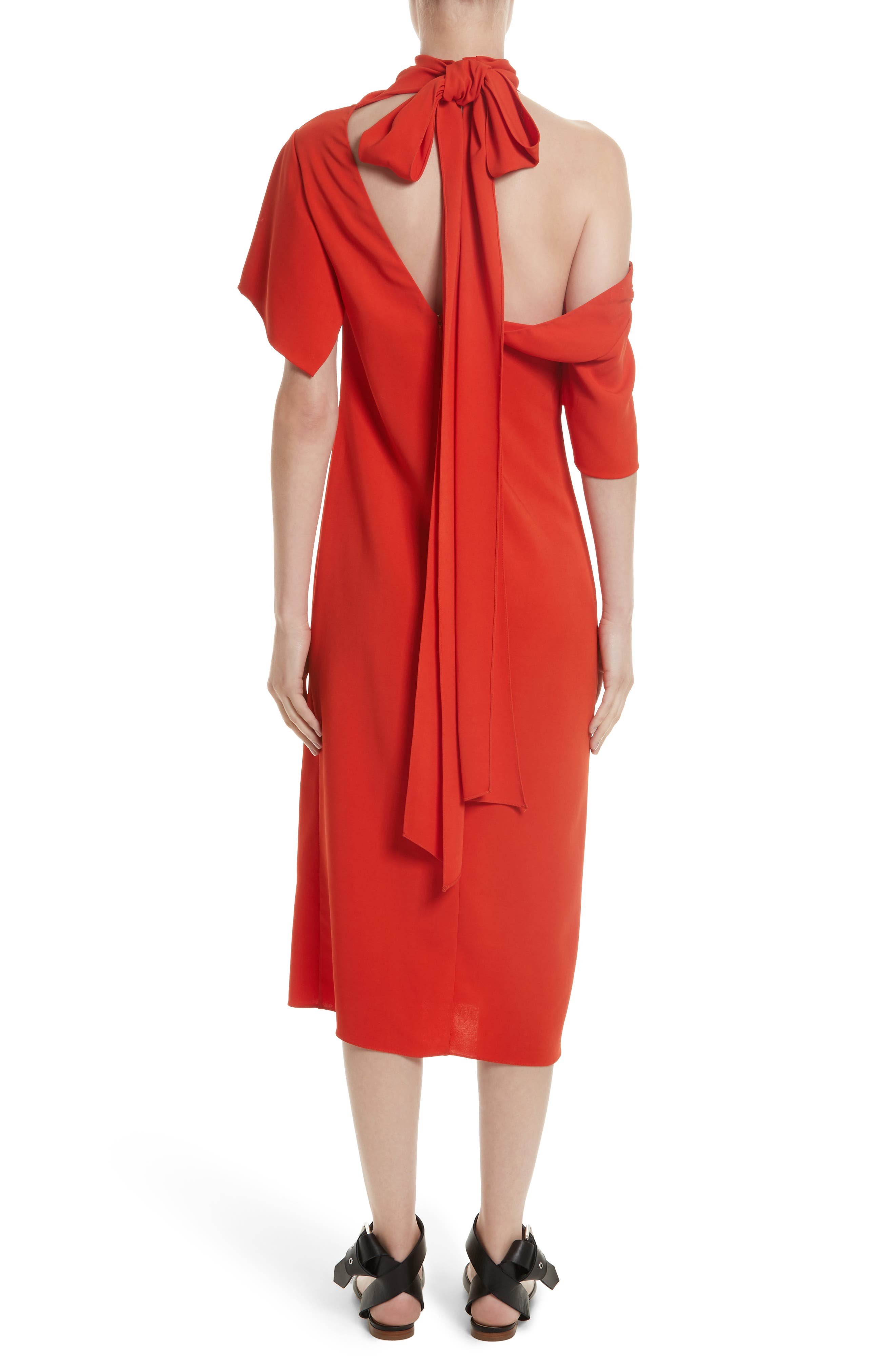 Bow Back Asymmetrical Dress,                             Alternate thumbnail 3, color,                             Red
