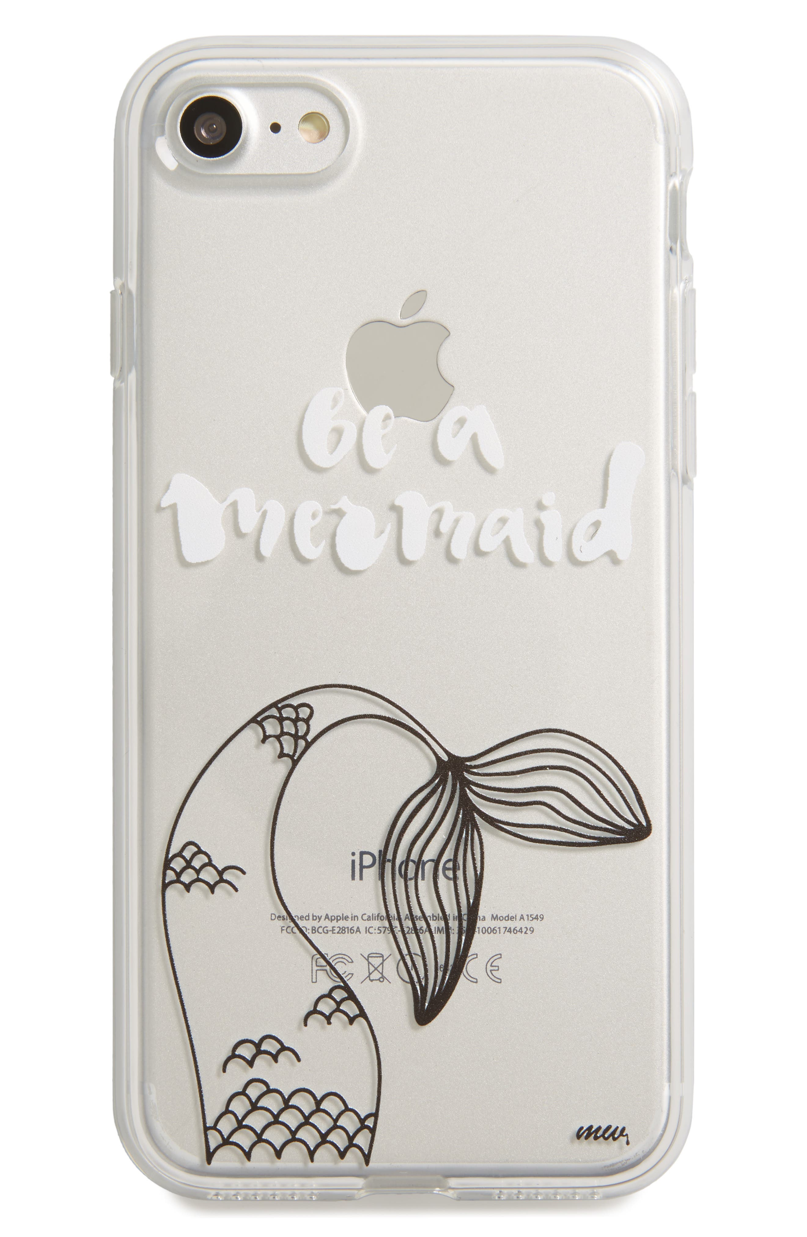 Mermaid Tail iPhone 7 Case,                         Main,                         color, Clear/ White
