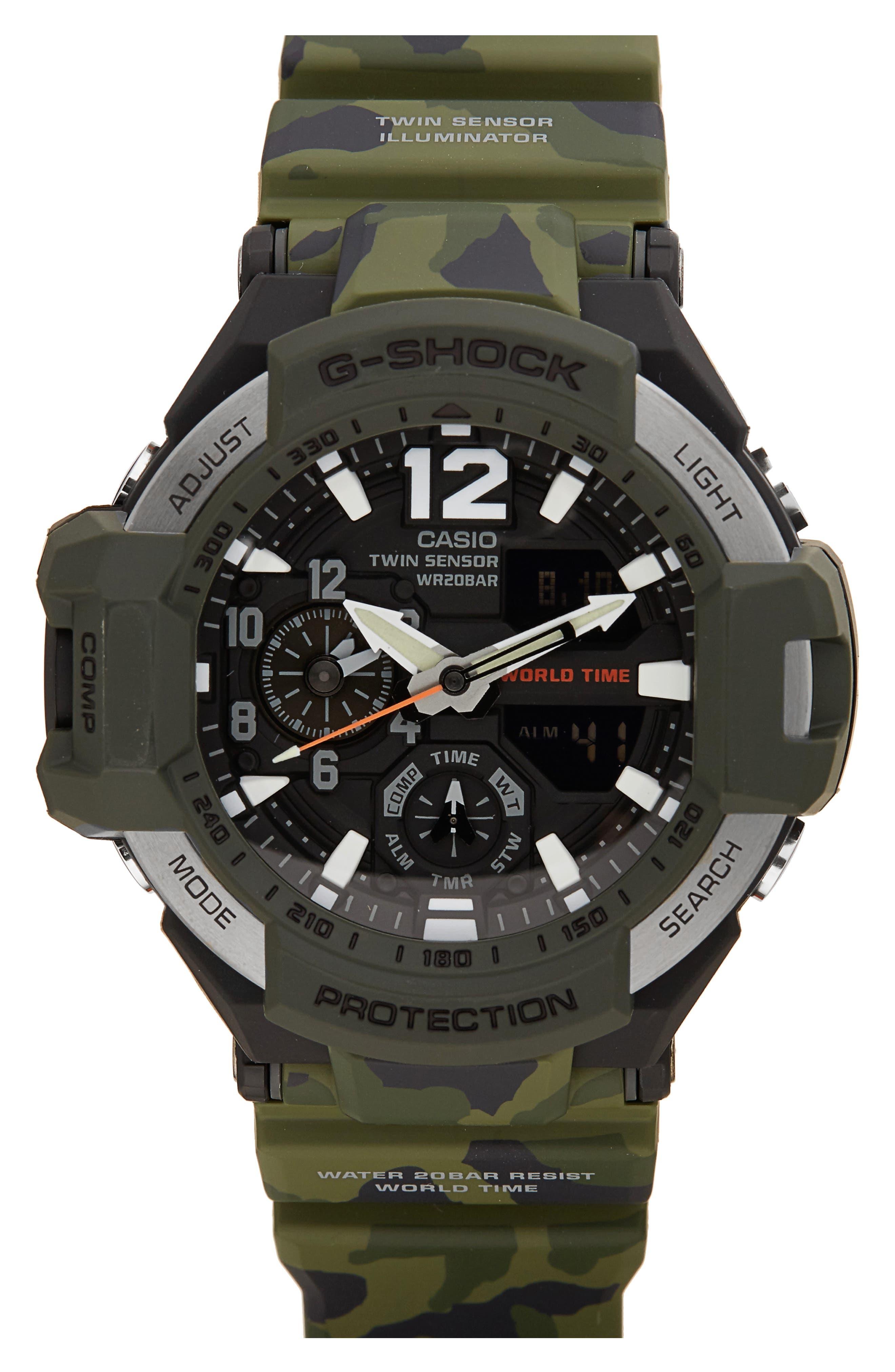 G-Shock Gravitymaster Ana-Digi Resin Watch, 52mm,                         Main,                         color, Green/ Black/ Green