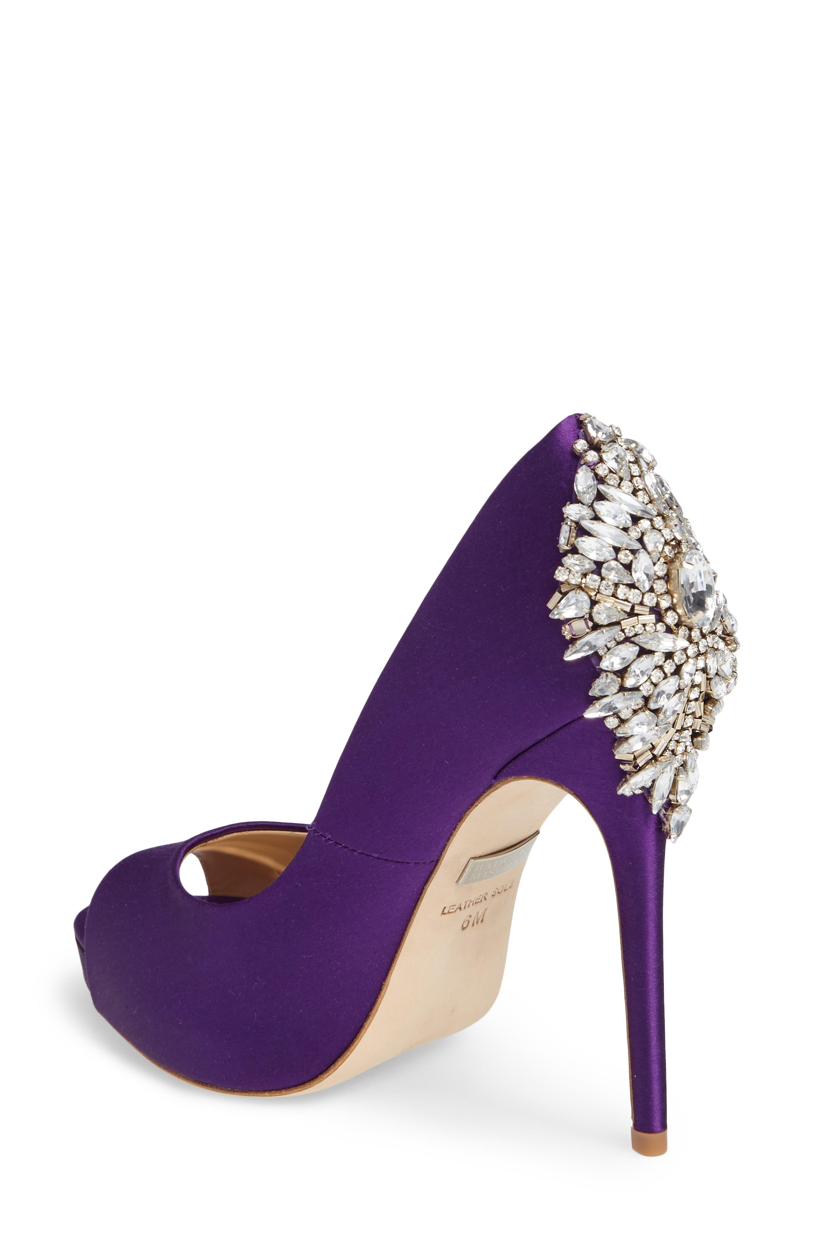 'Kiara' Crystal Back Open Toe Pump,                             Alternate thumbnail 2, color,                             Purple Satin