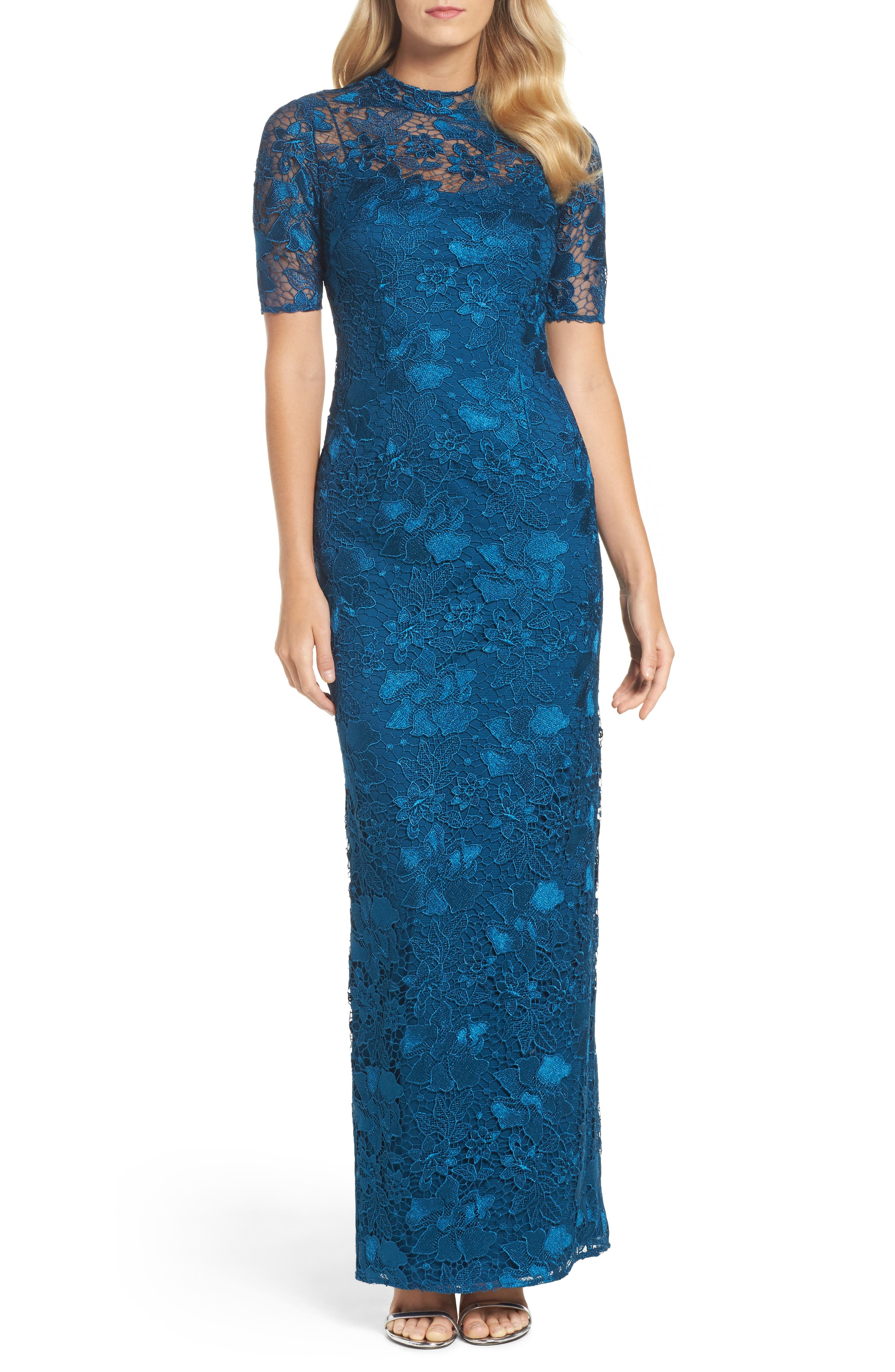 Guipure Lace Column Gown,                             Main thumbnail 1, color,                             Evening Sky