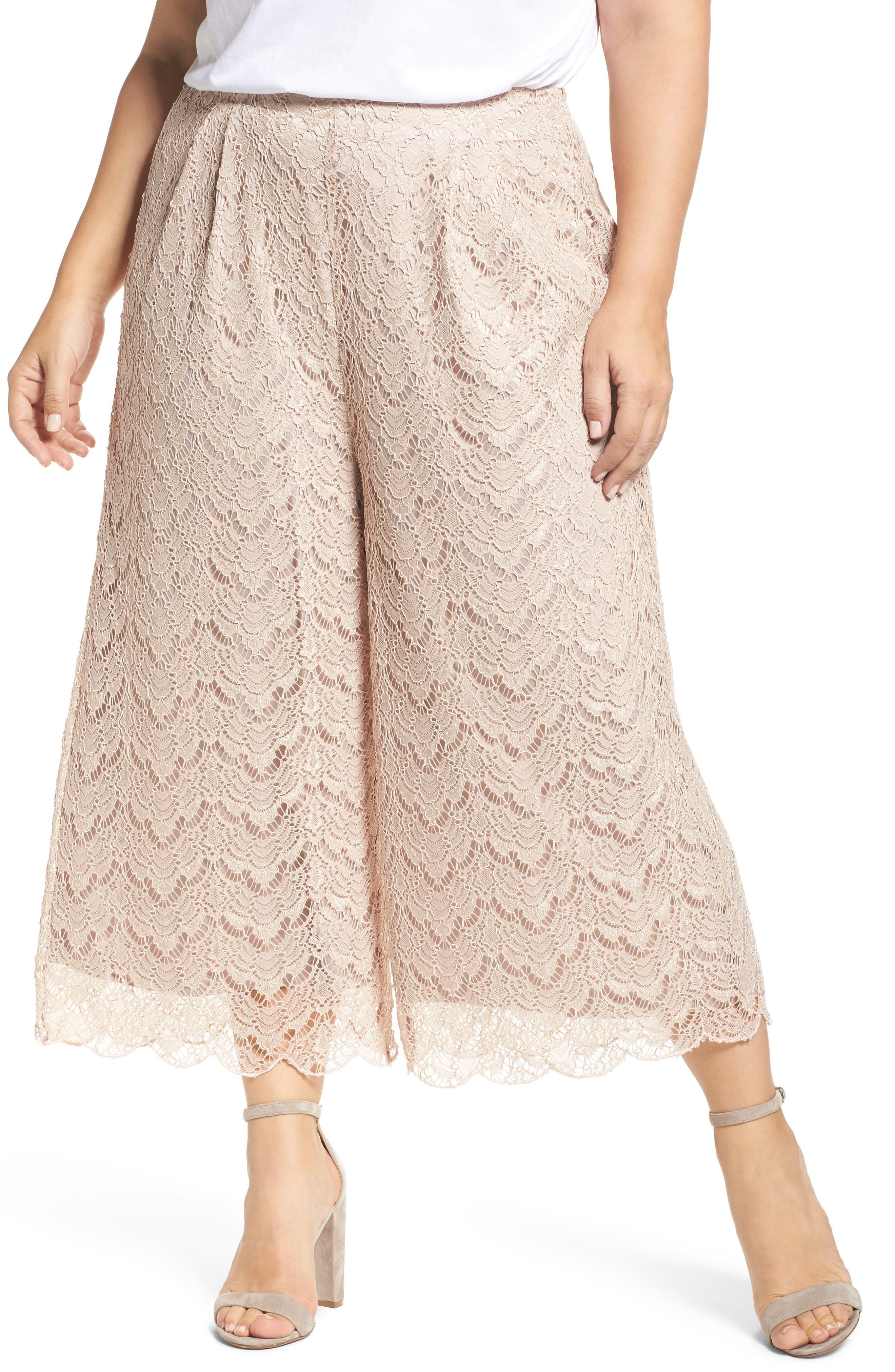 Alternate Image 1 Selected - ELVI Lace Culottes (Plus Size)