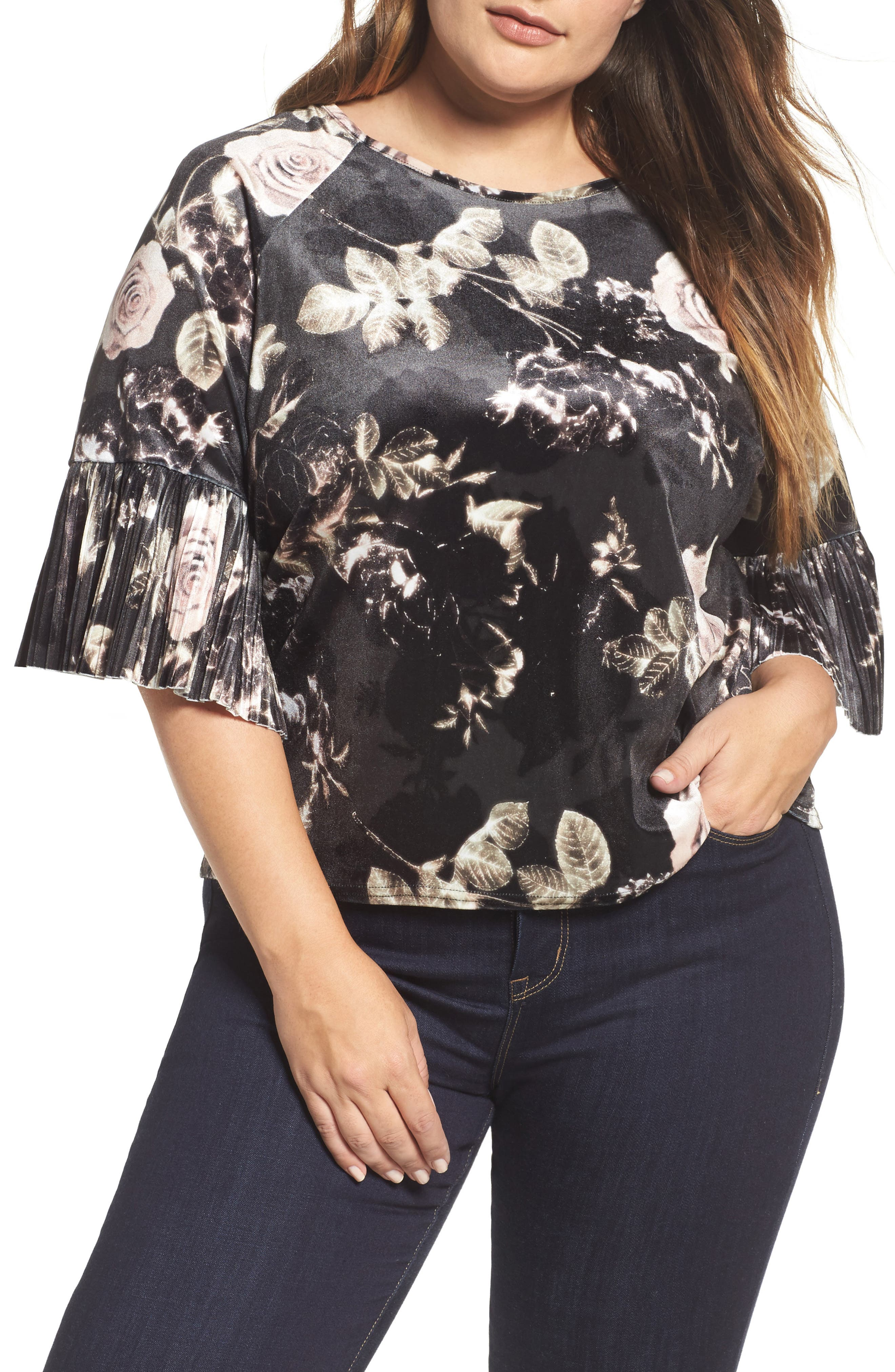 ELVI Rose Print Flare Sleeve Velvet Top (Plus Size)