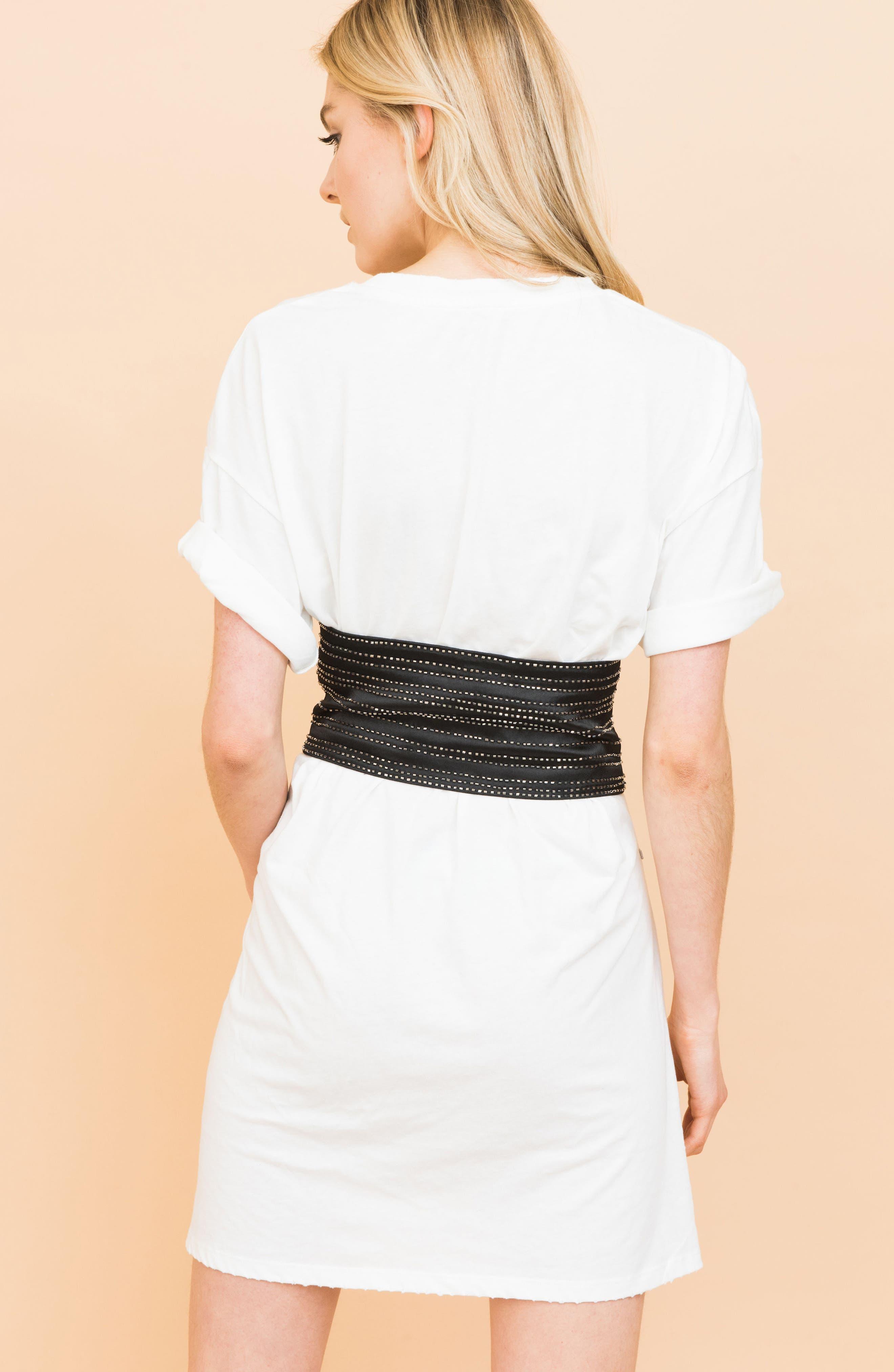 Beaded Silk Corset Belt,                             Alternate thumbnail 5, color,                             Black