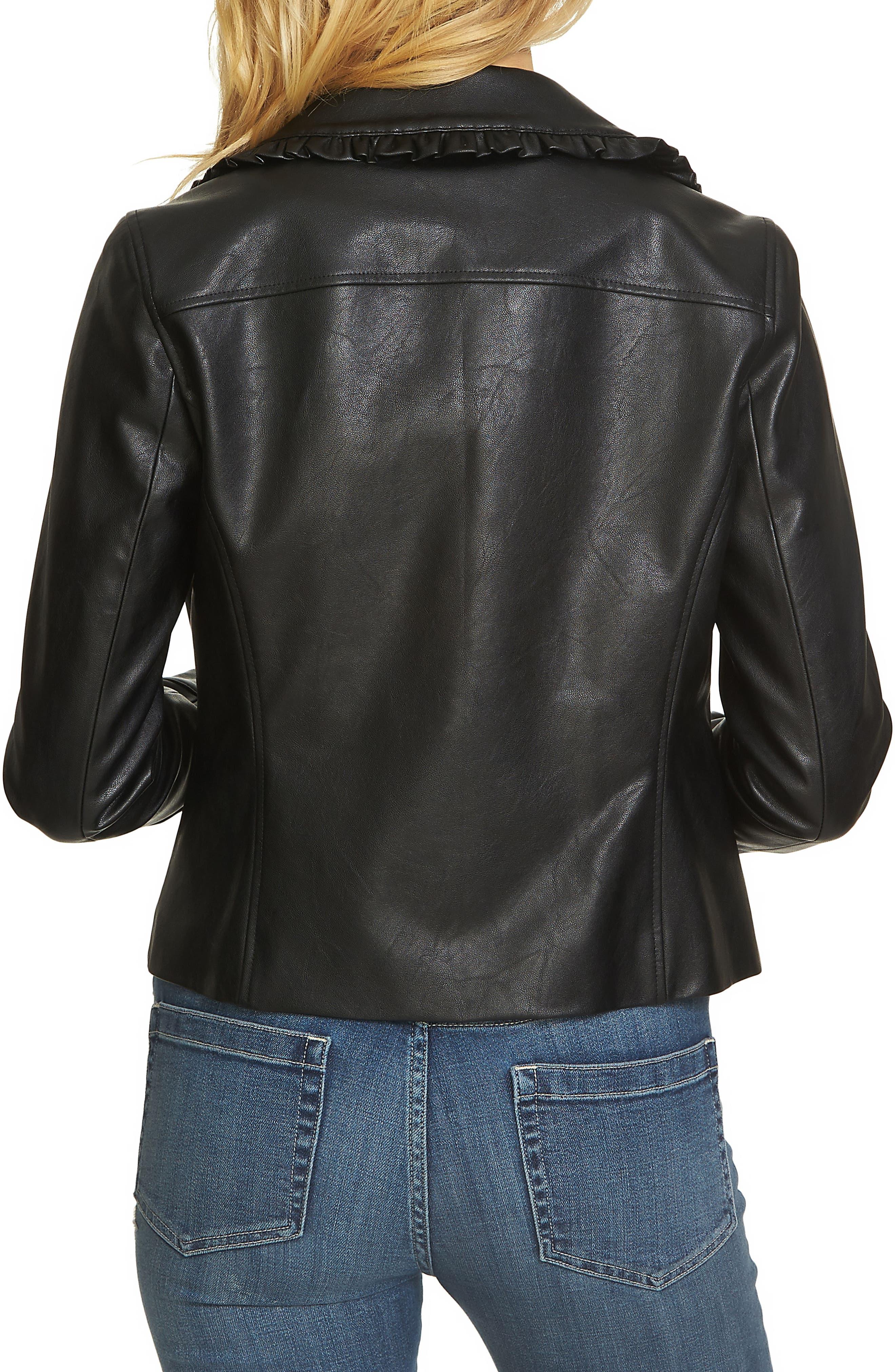 Alternate Image 2  - CeCe Ruffle Trim Moto Jacket