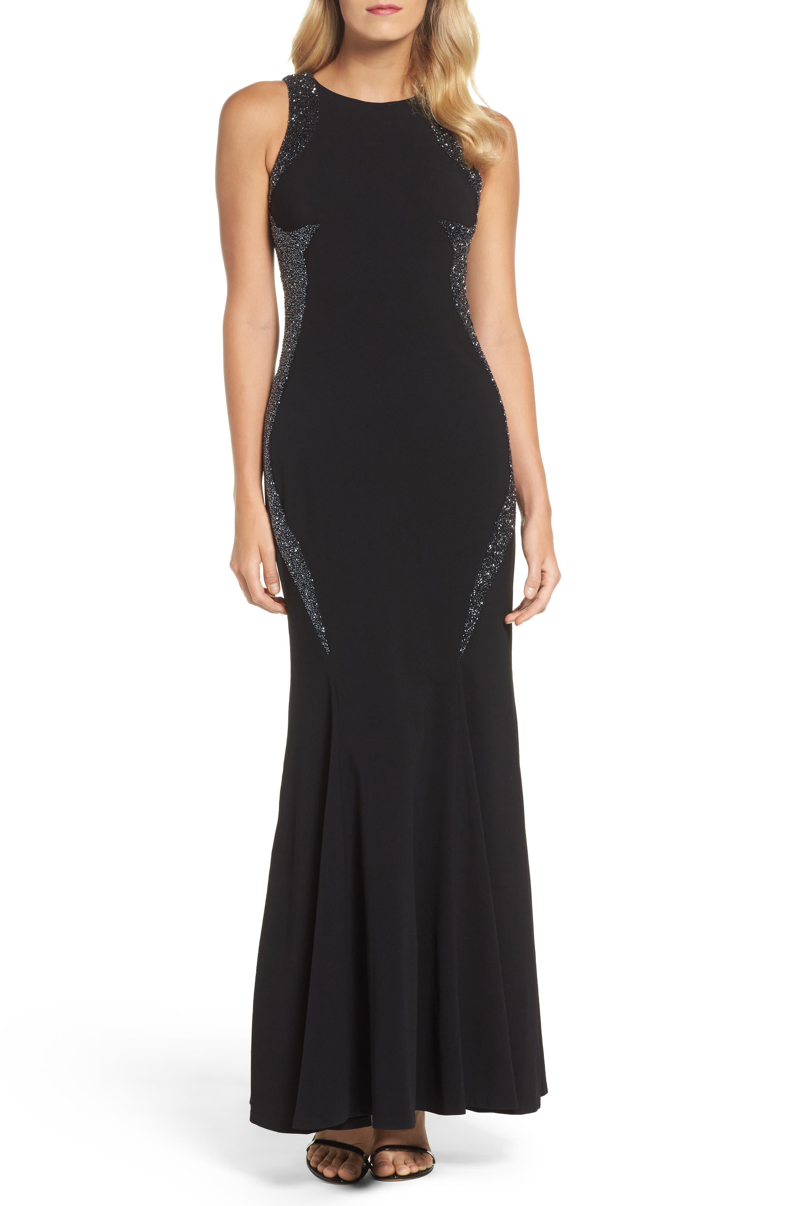 Embellished Gown,                         Main,                         color, Black
