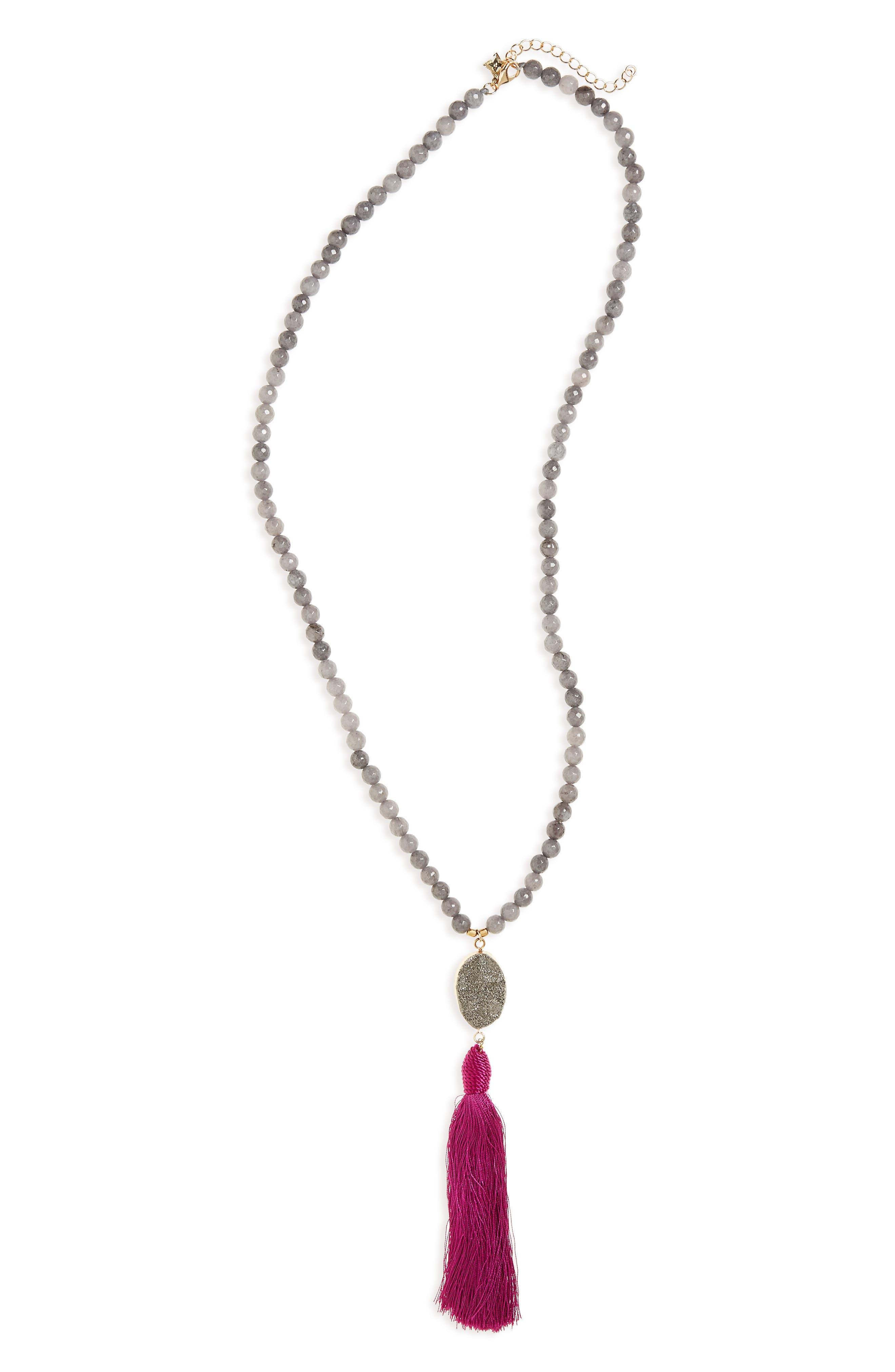 Tassel Pendant Necklace,                         Main,                         color, Multi/ Grey